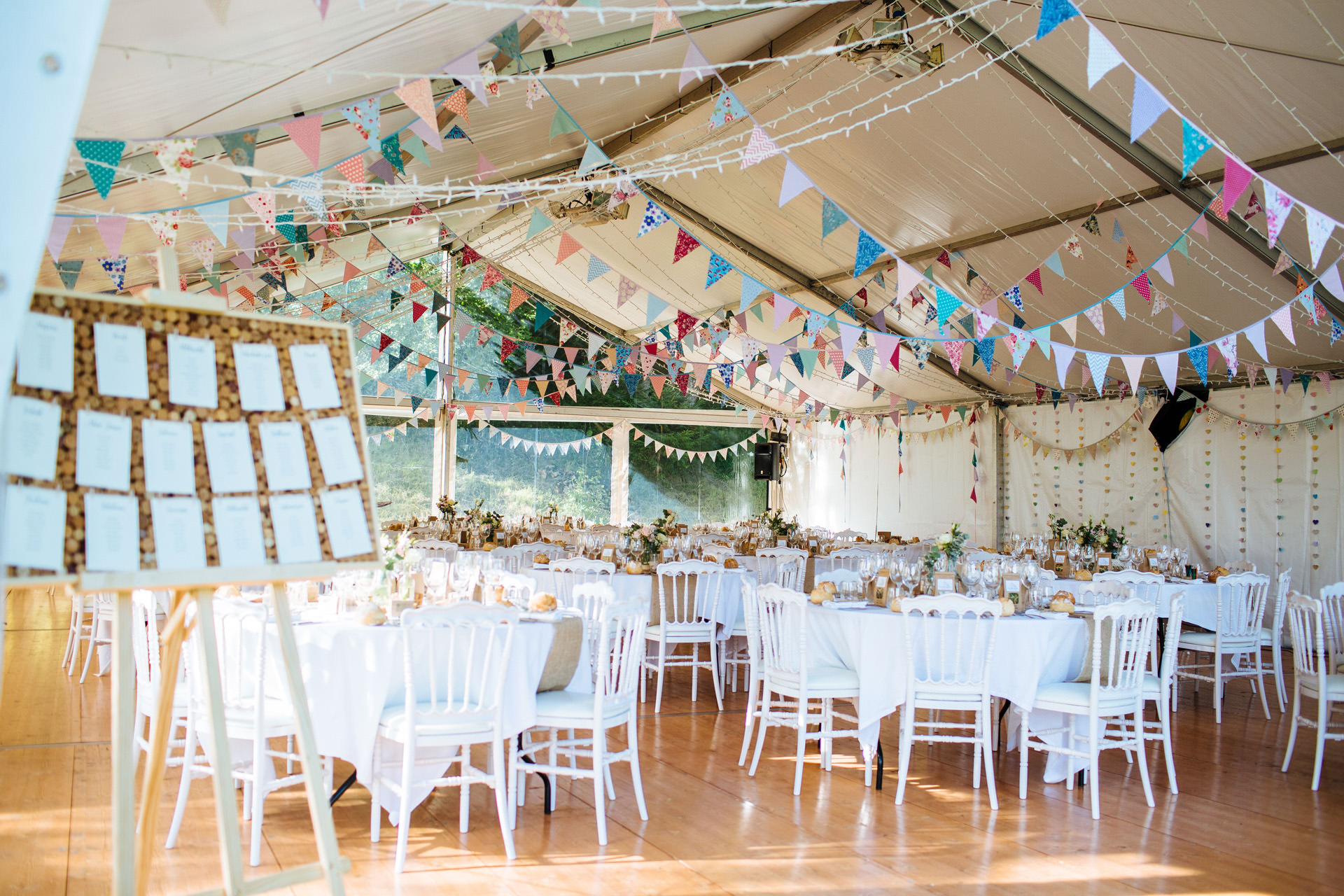 rustic wedding marquee with bunting