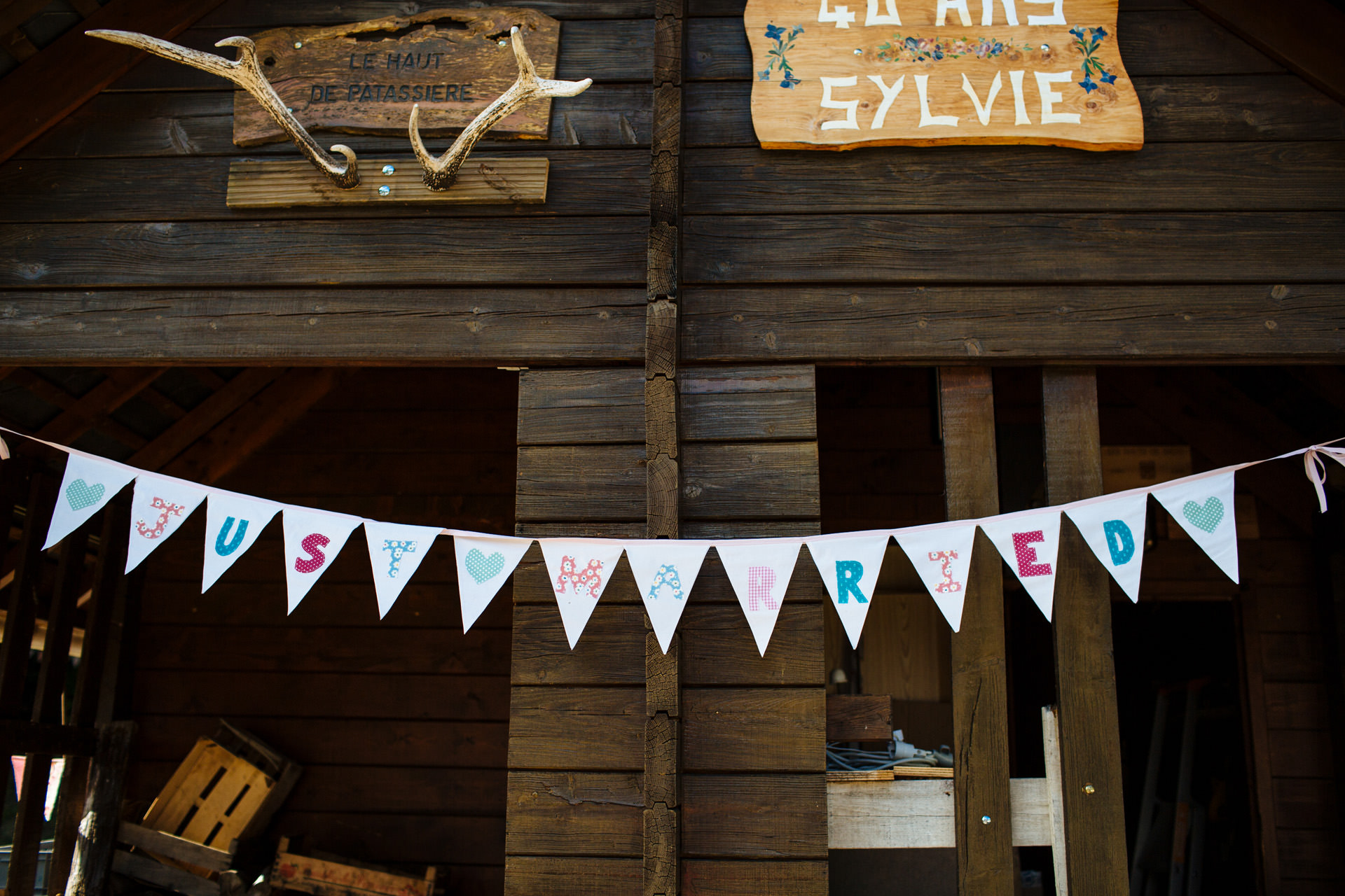 just married pastel bunting