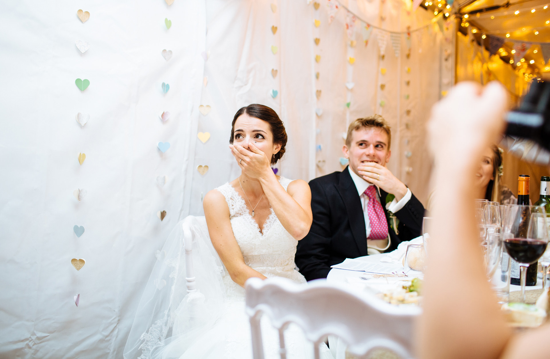 bride and groom shocked at speech