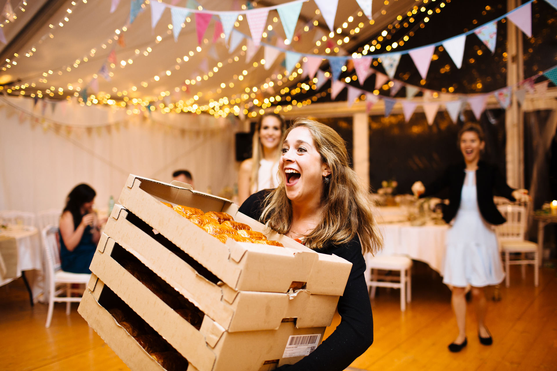wedding evening food being delivered