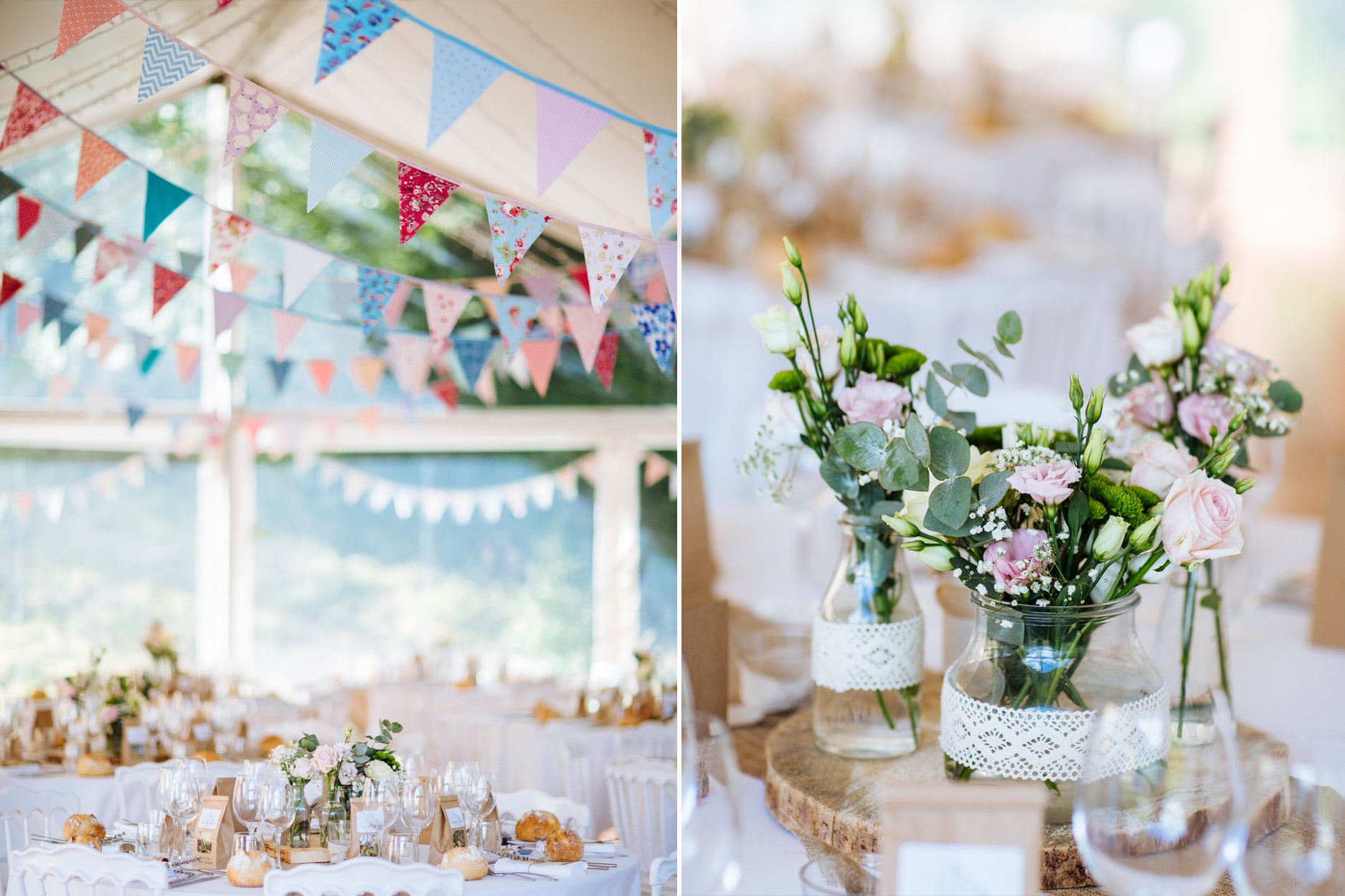 colourful wedding marquee with bunting