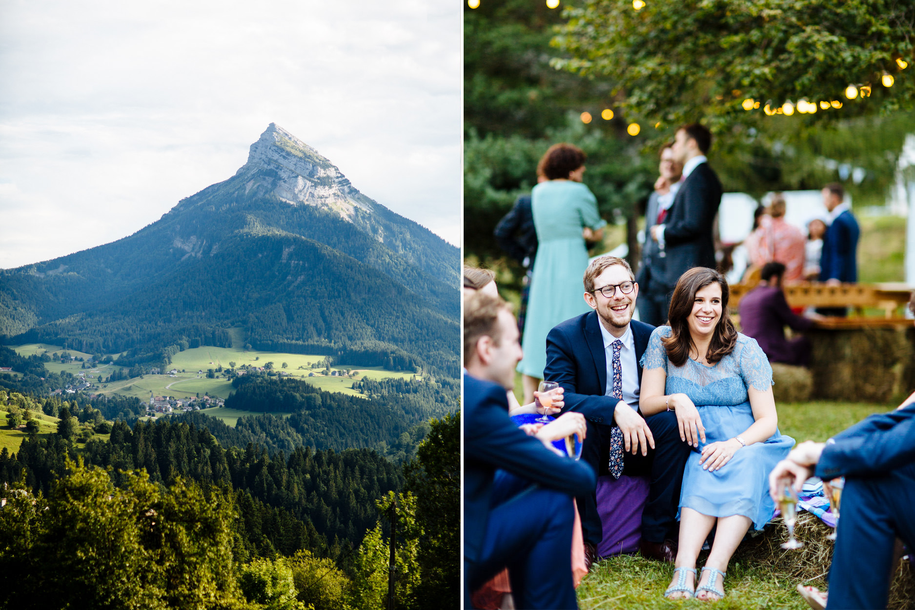 wedding guests relaxing with mountain backdrop
