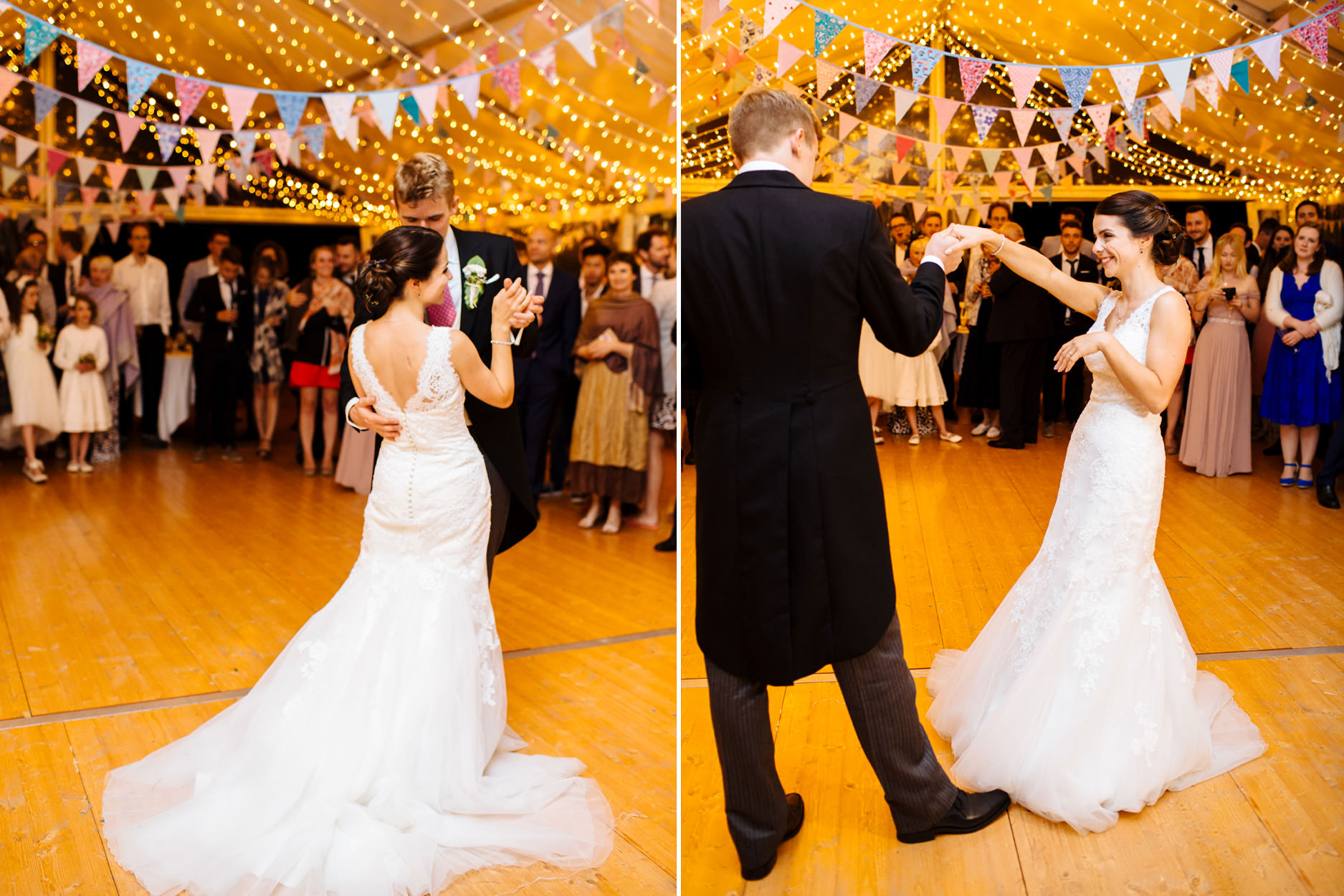 bride and groom first dance cuddle