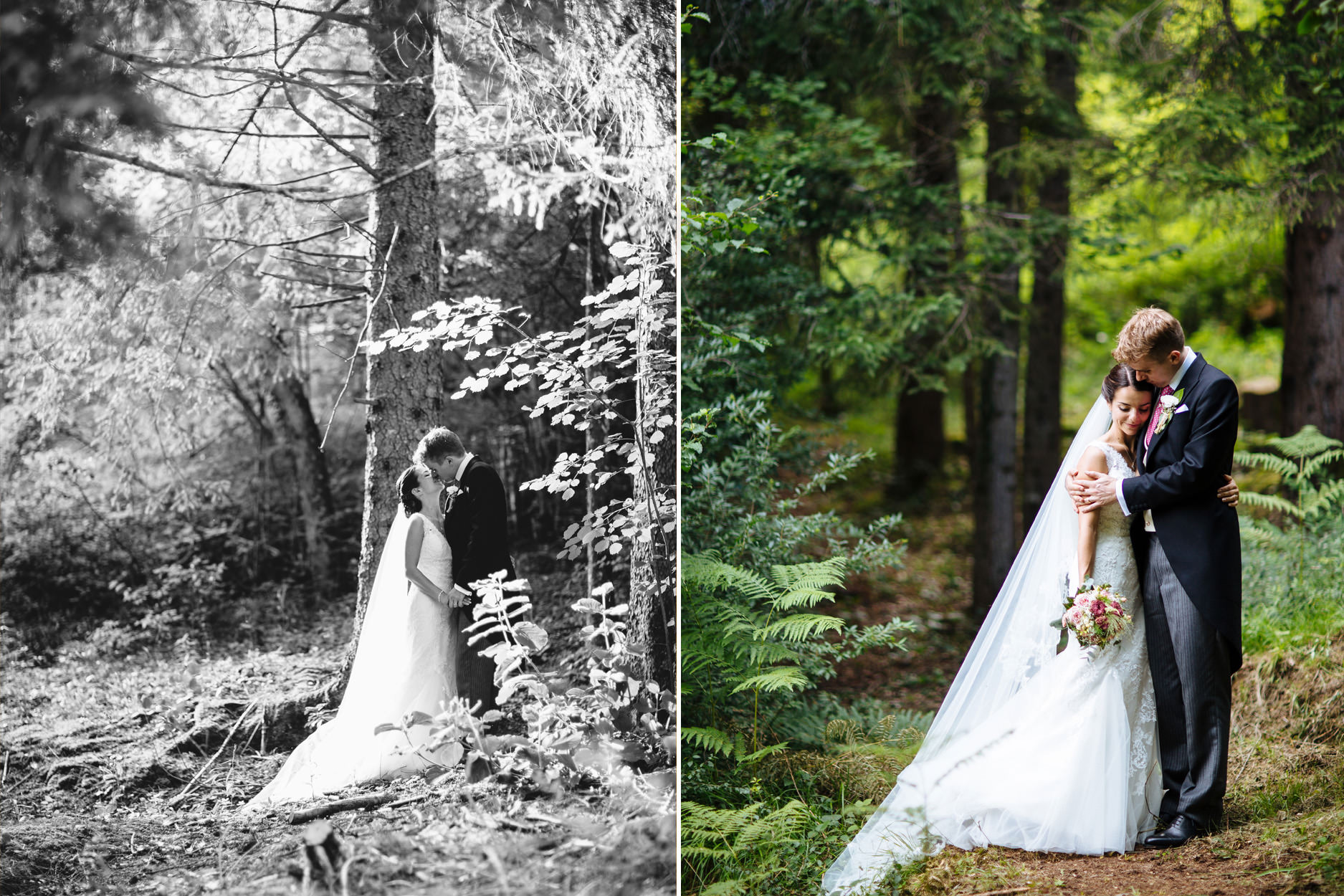 bride and groom hug in woodland
