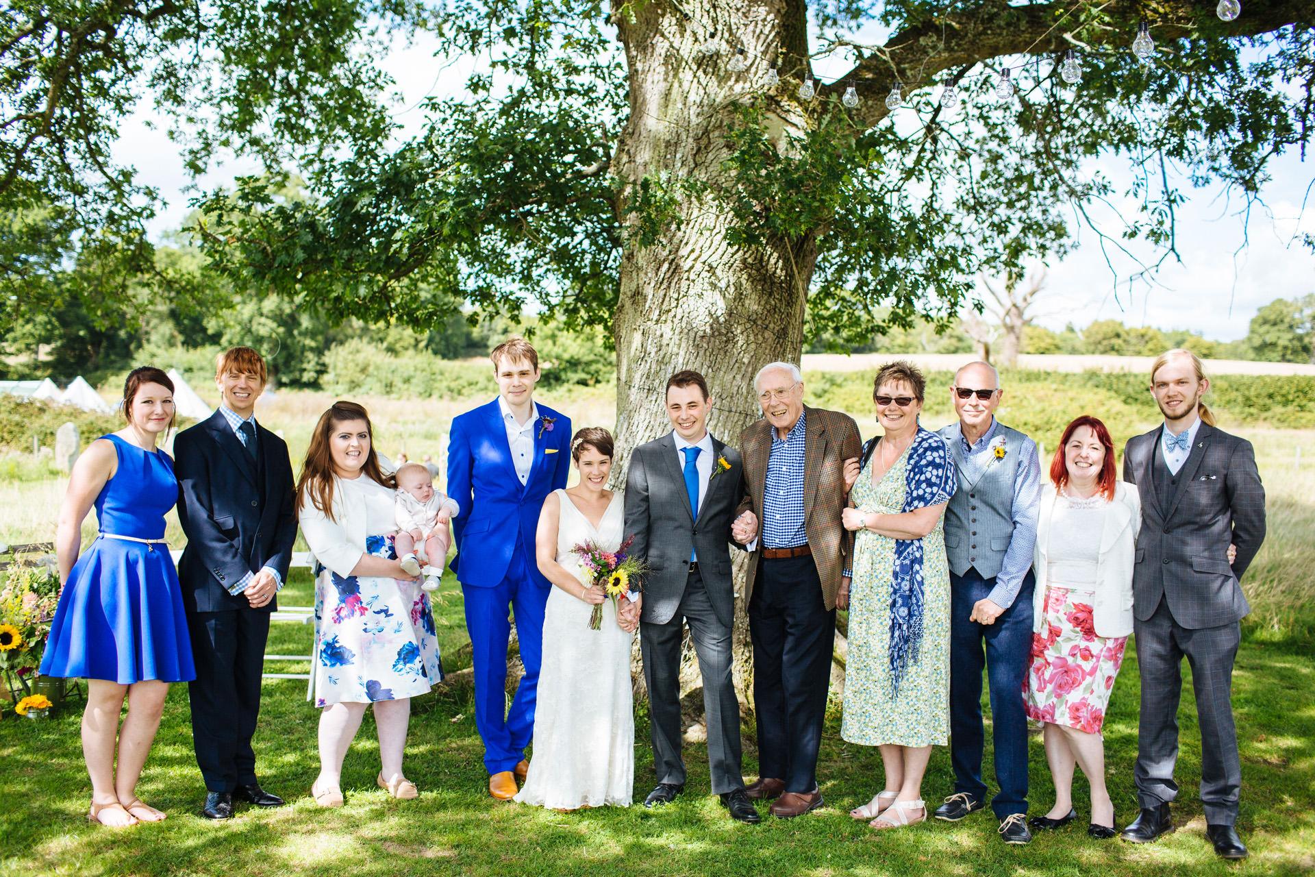 sunny wedding family photo