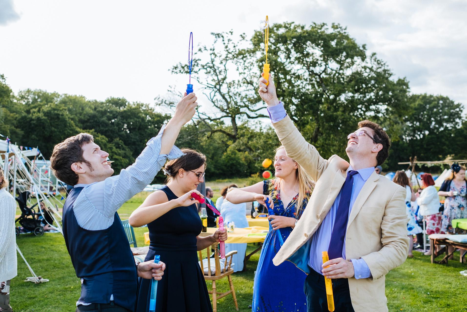 bubbles at a wedding