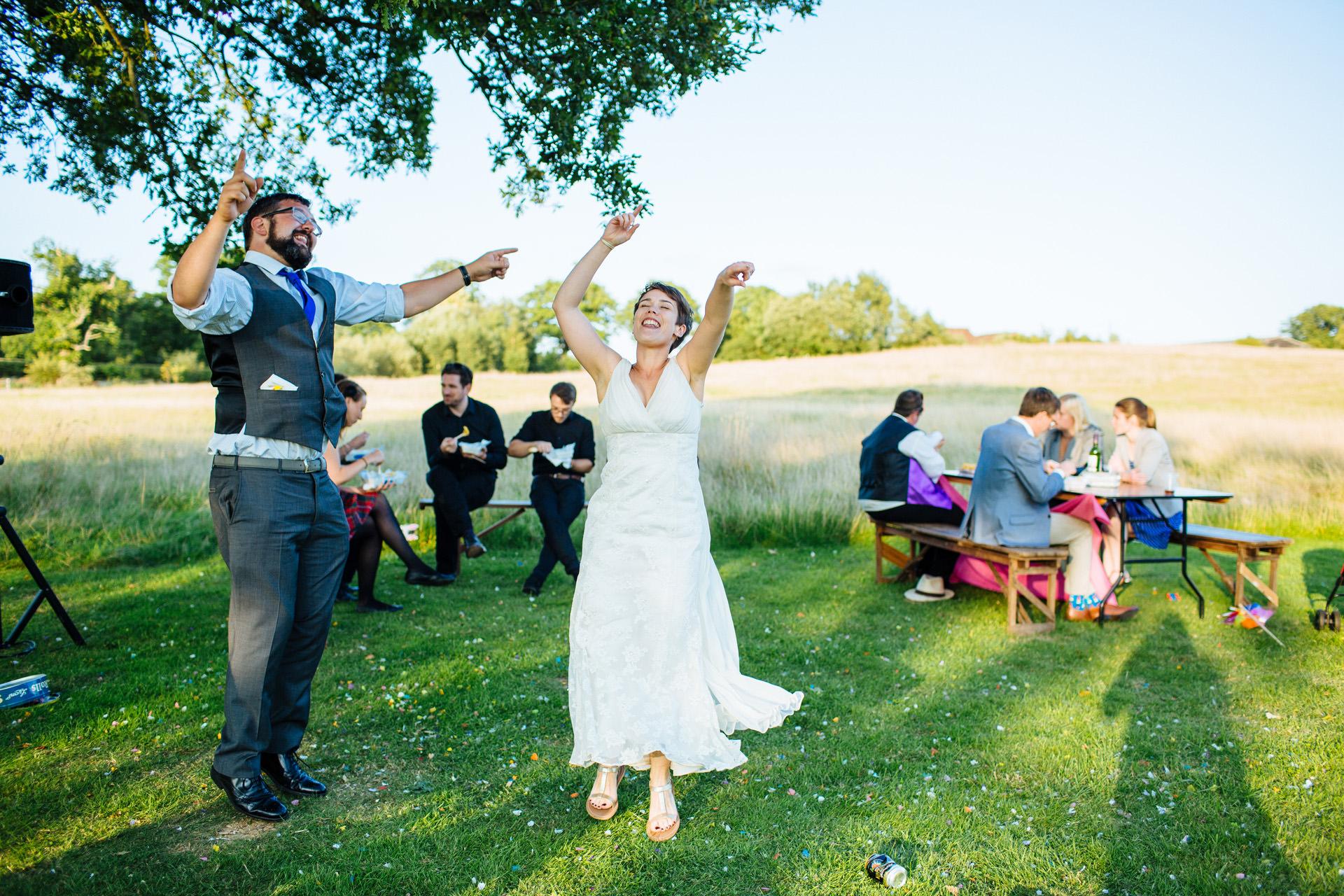 bride dancing outside