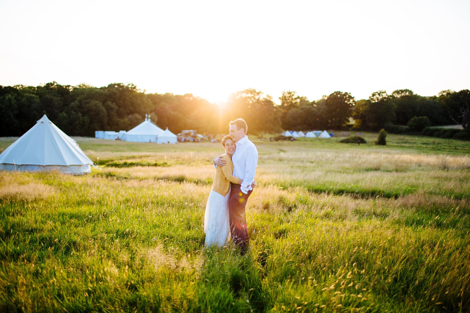 festival wedding at sunset