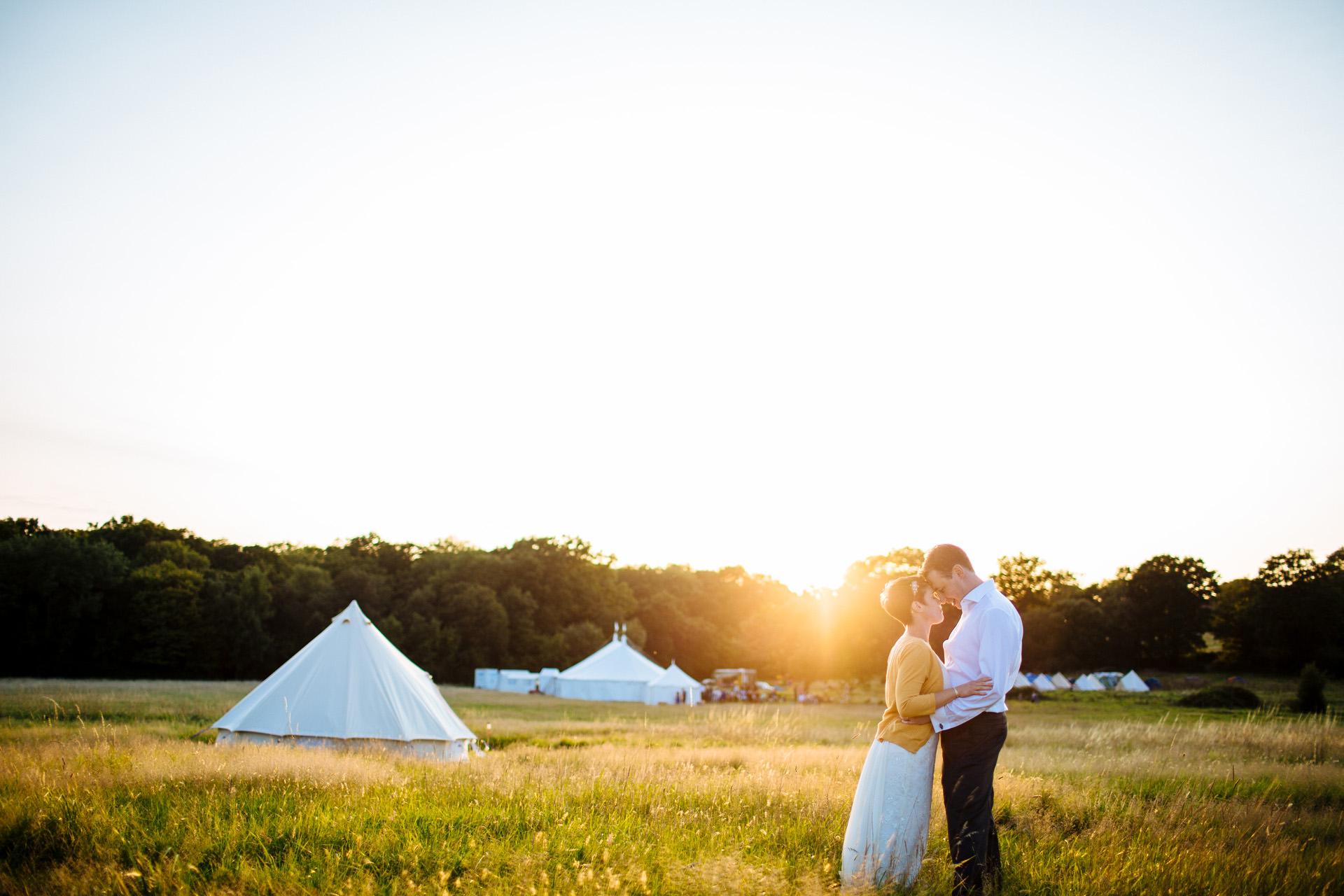 festival wedding sunset
