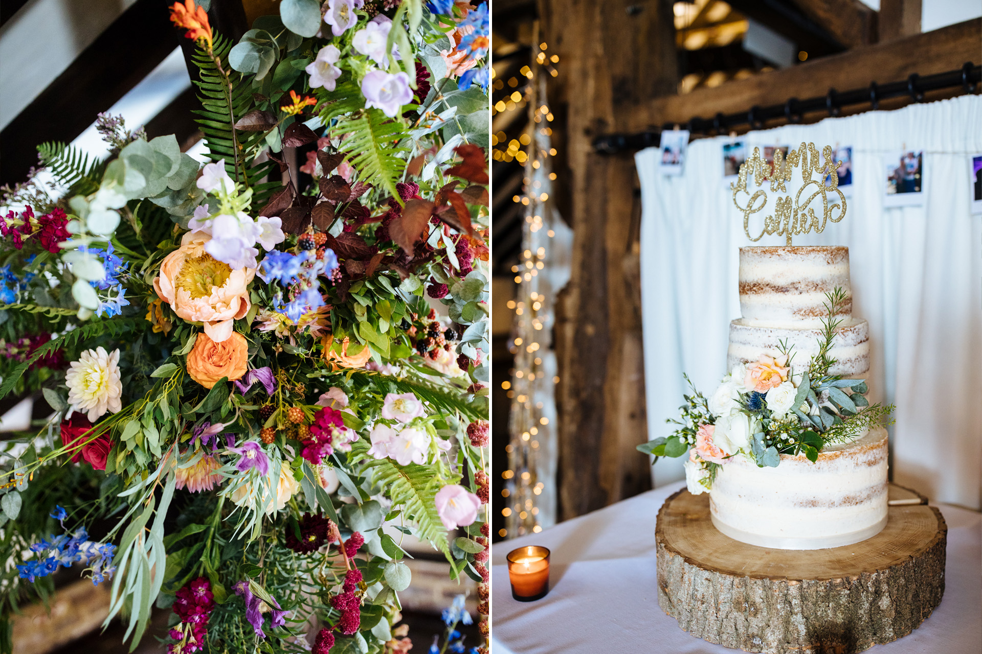 rustic flowers and naked cake at blackstock country estate