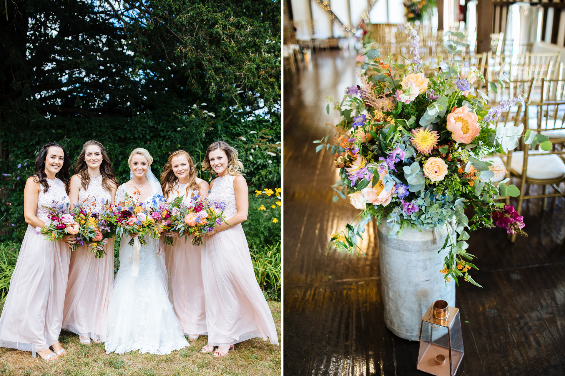 huge rustic flowers and bridesmaids at blackstock country estate