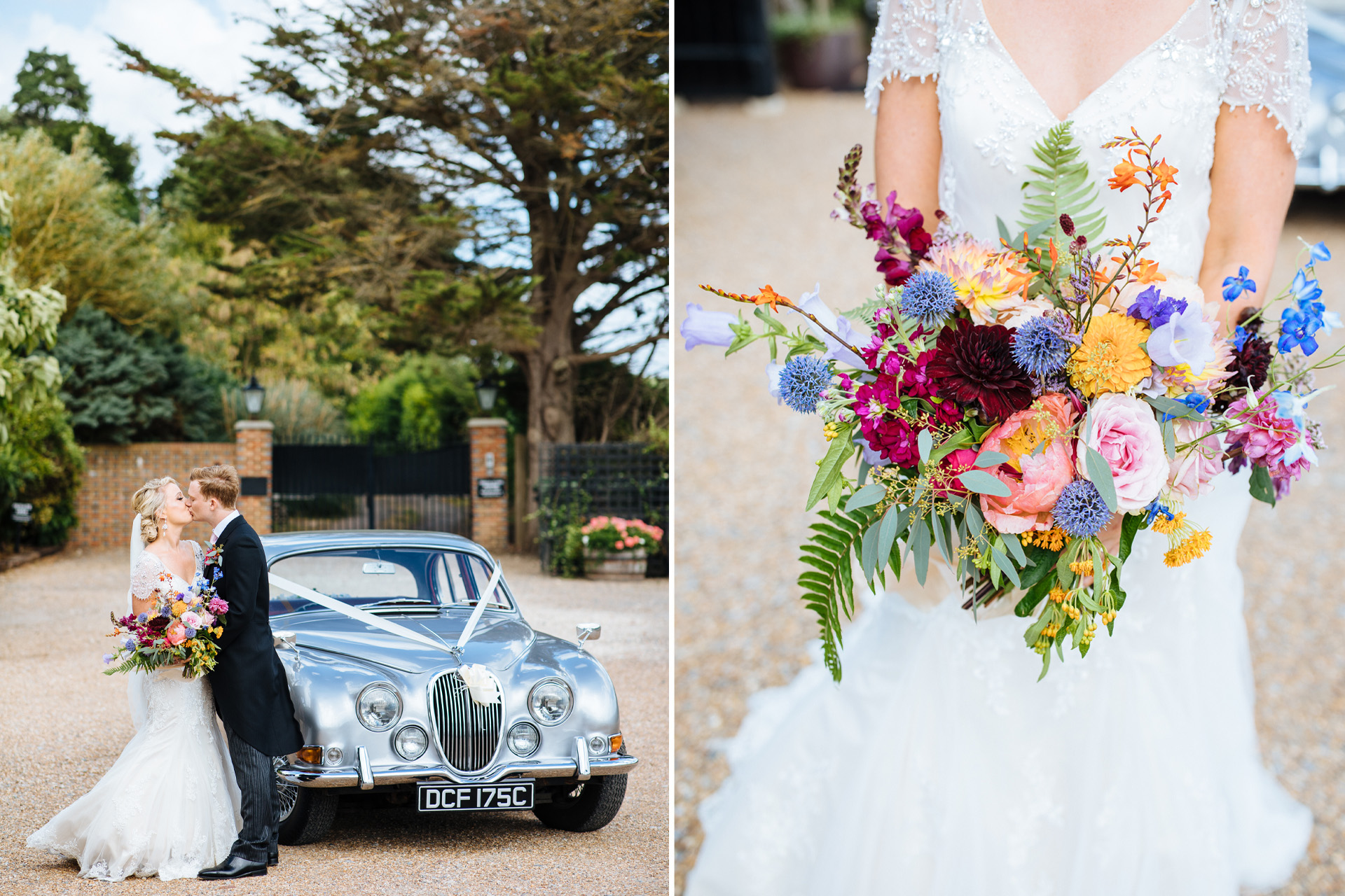 bride and groom kiss in front of wedding car at black stock country estate wedding