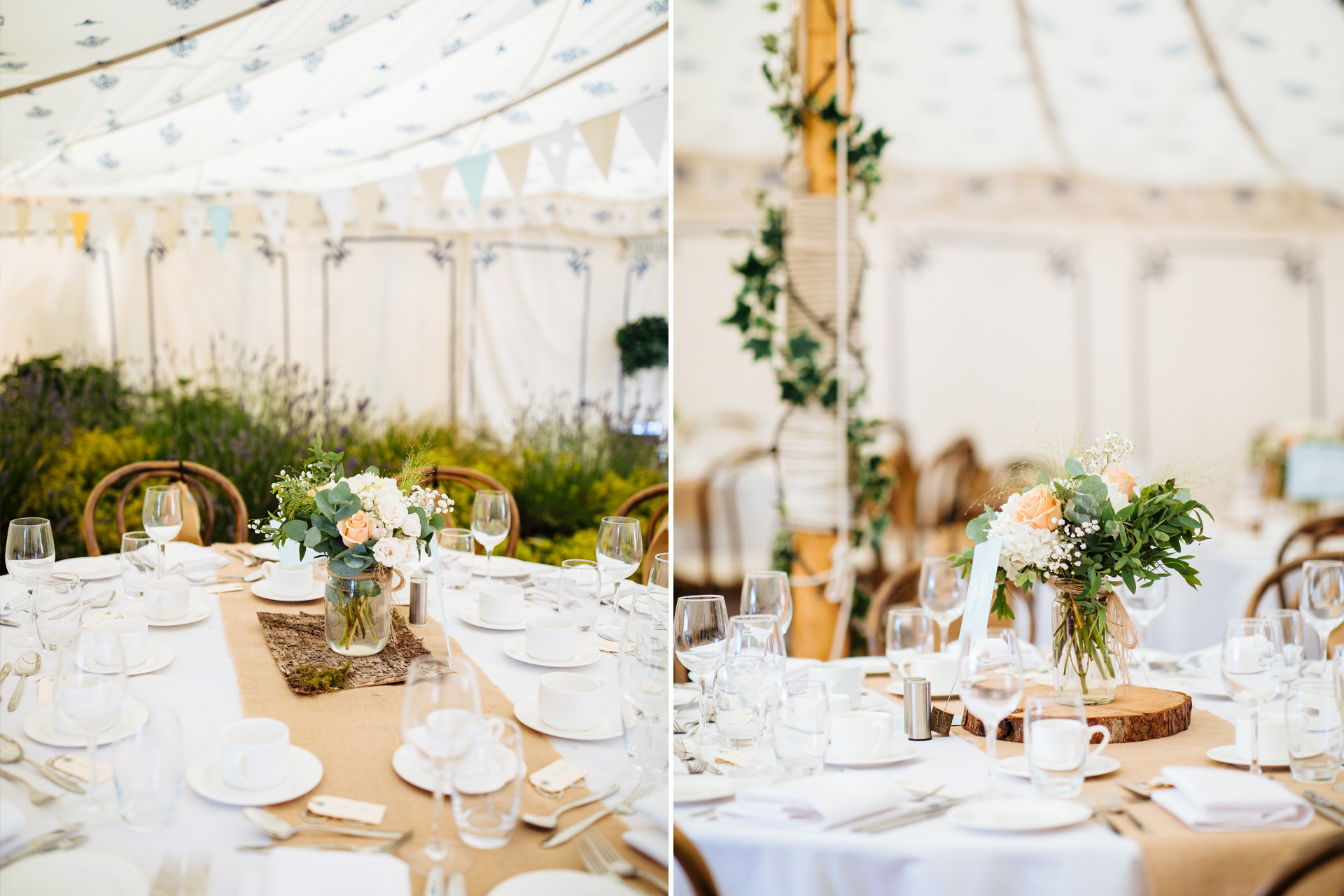 sailcloth tent decorated with flowers, burlap and ivy at kentfield farm wedding