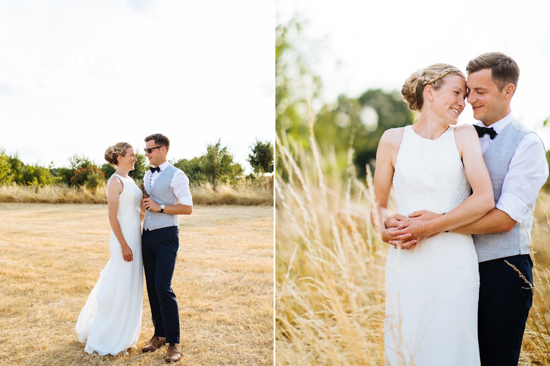 bride and groom cuddling in corn field at sunset at kentfield farm wedding