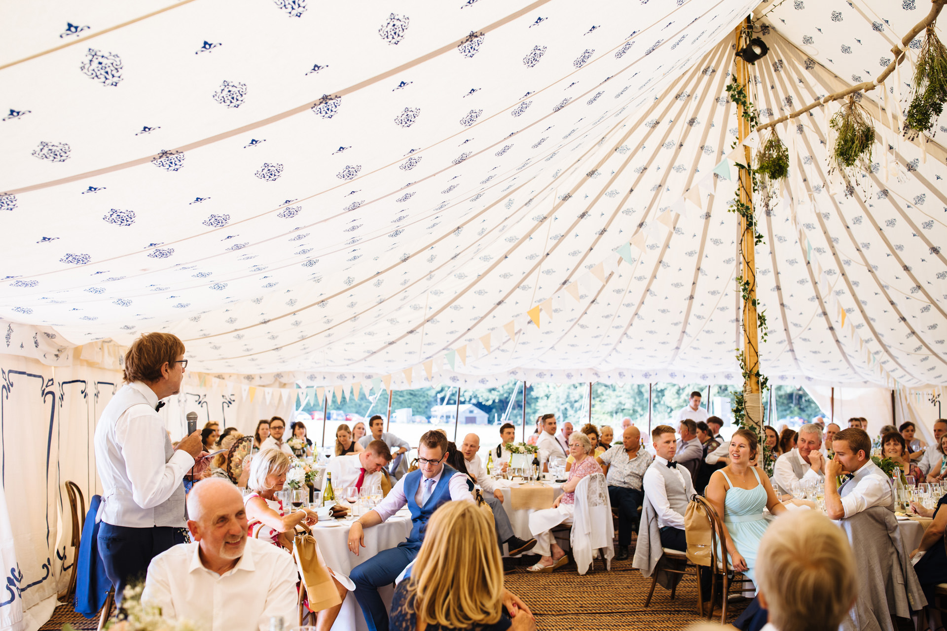 brides father giving speech to the entire room at kentfield farm wedding