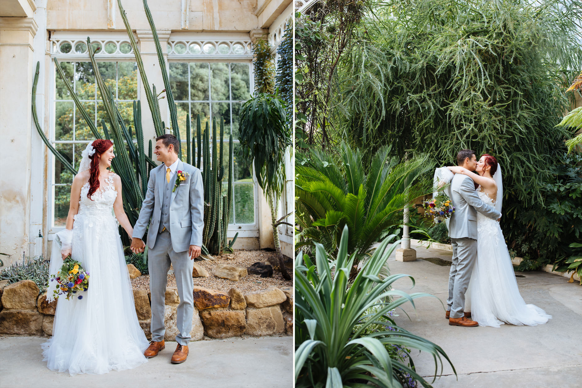bride and groom in botanical greenhouse with cacti