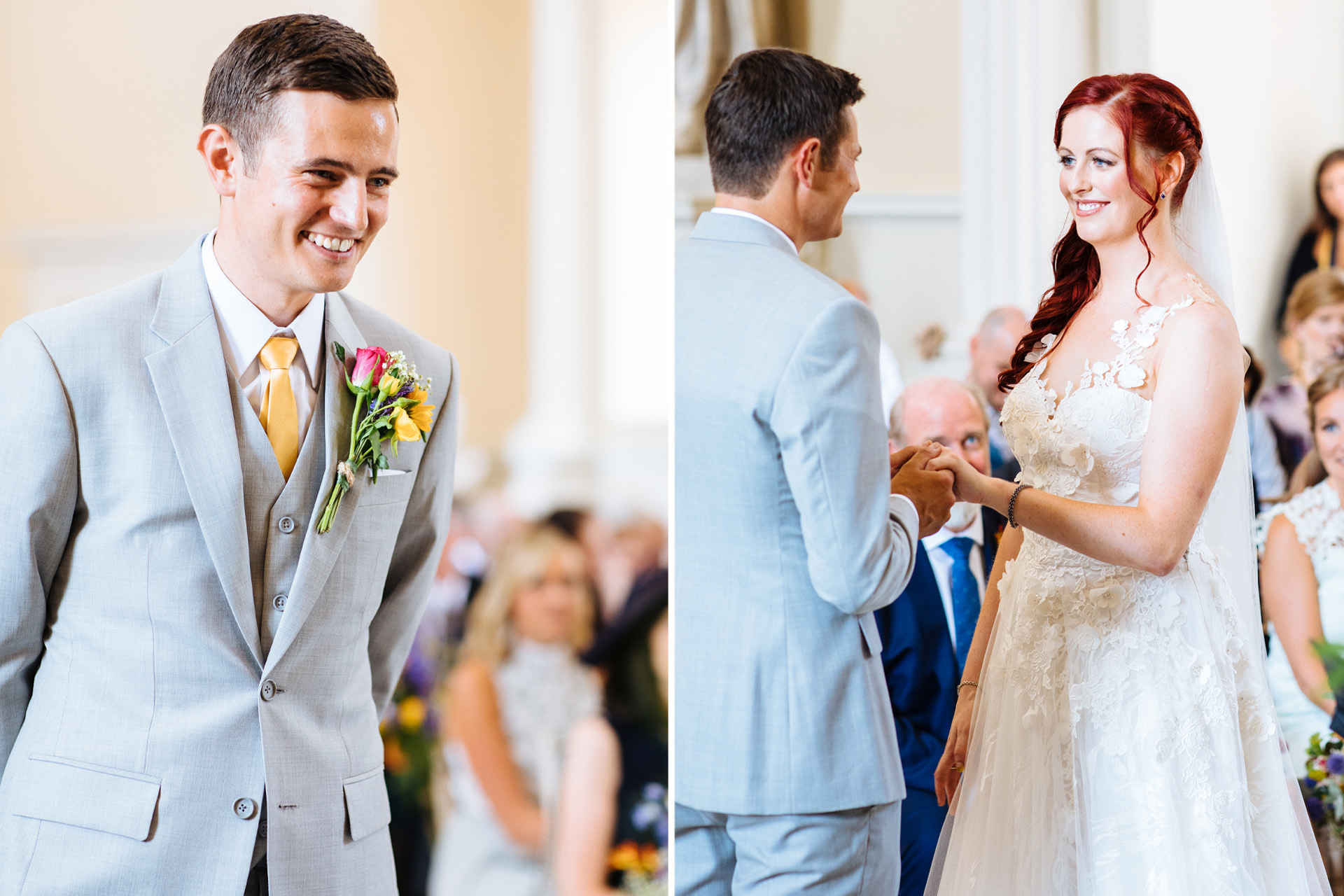 bride and groom exchanging rings in wedding ceremony at syon park