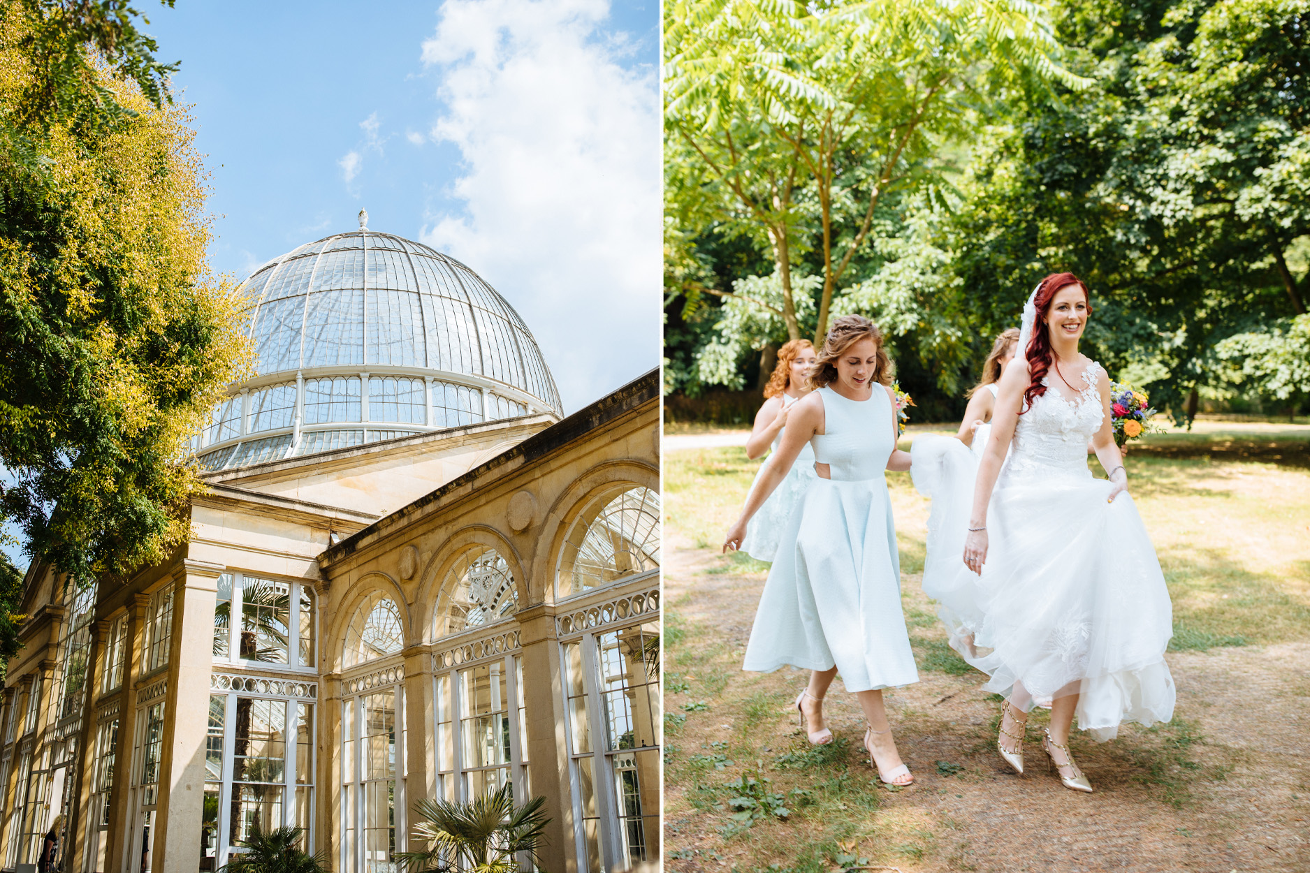 bride walking to ceremony with bridesmaids at syon park