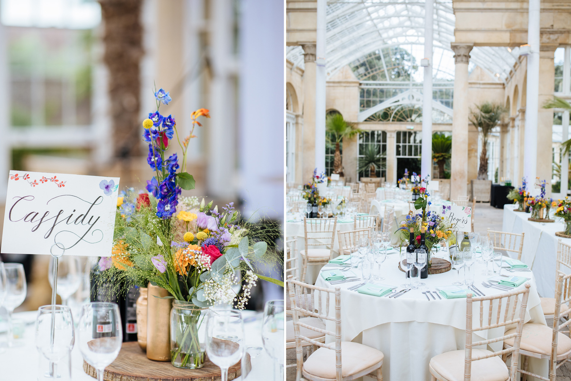 wild purple flowers decorating the tables at syon park wedding