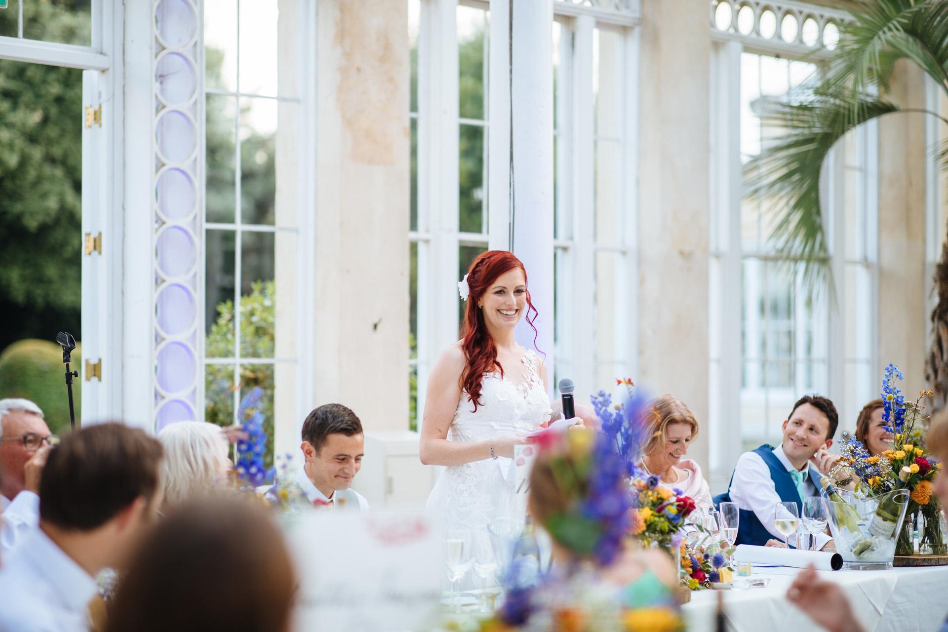bride doing her speech at syon park wedding