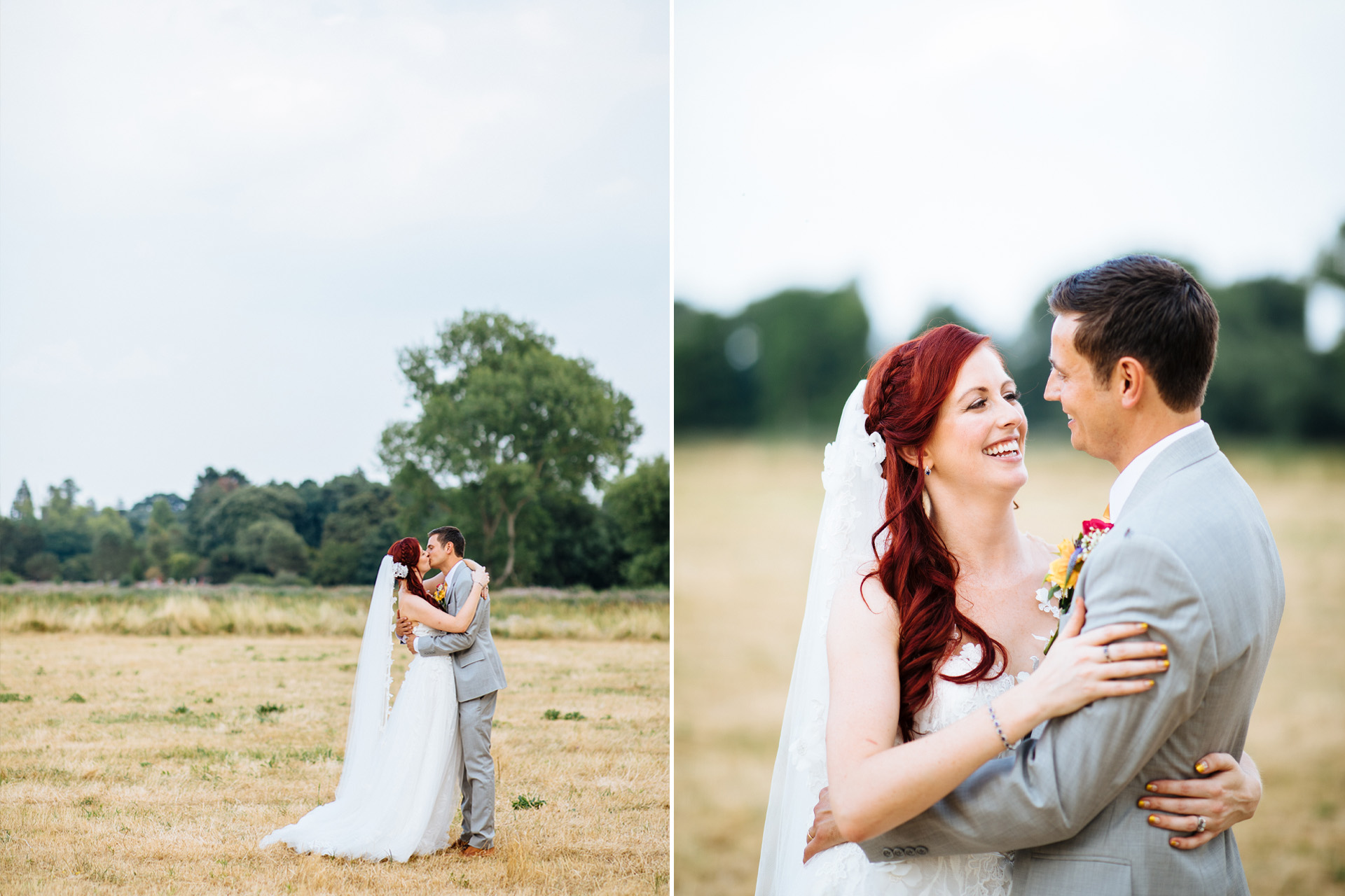 bride and groom cuddling each other at syon park wedding