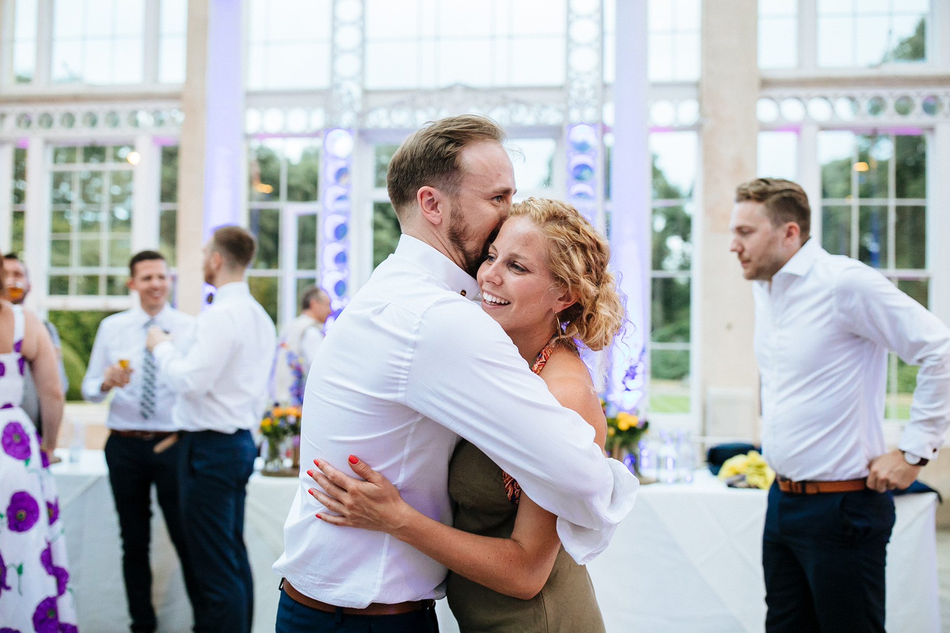 a couple dancing together on dance floor at syon park wedding