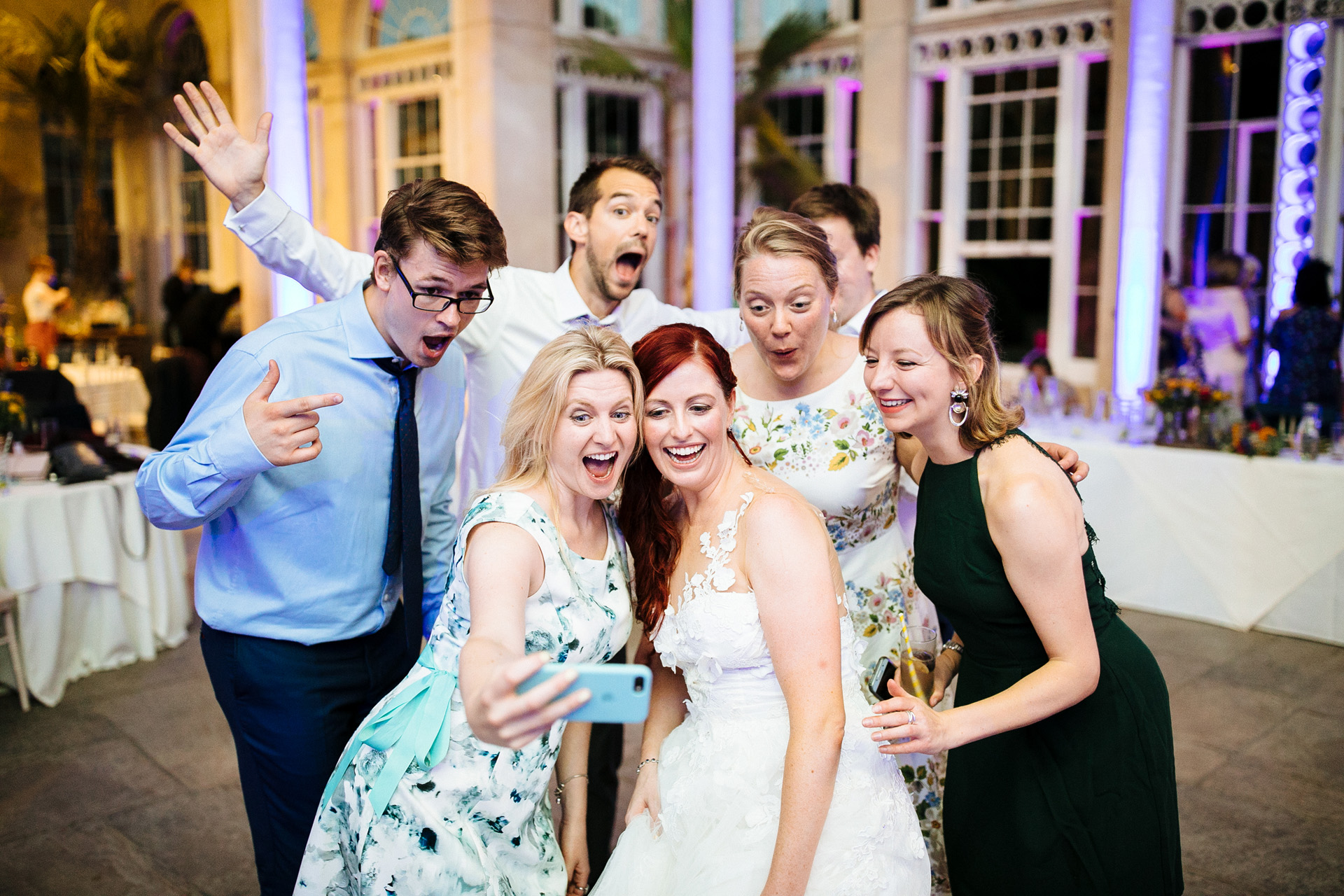 bride and her friends taking a selfie at syon park wedding