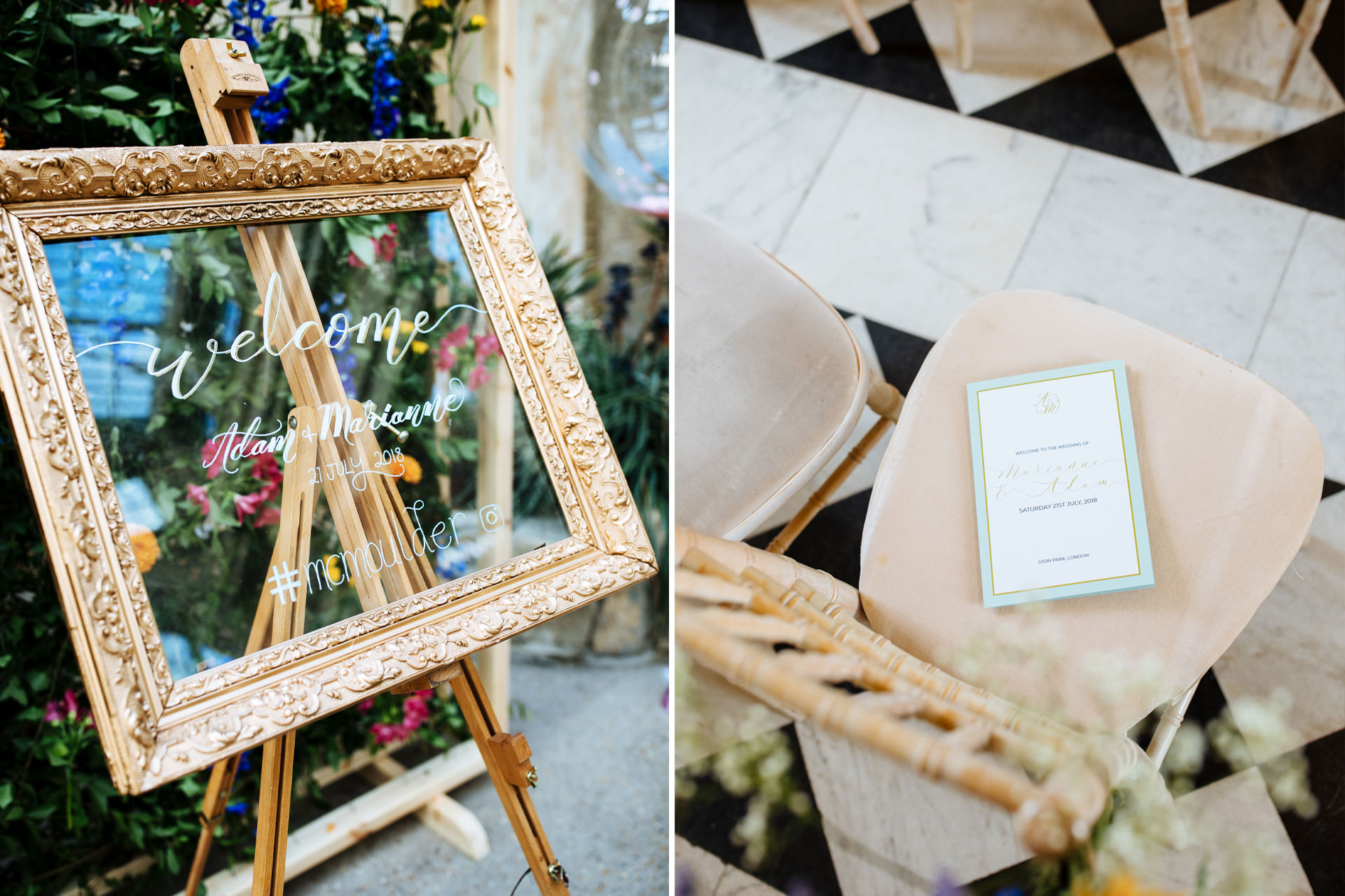 gold photo frame with wedding details in calligraphy in front of flower wall