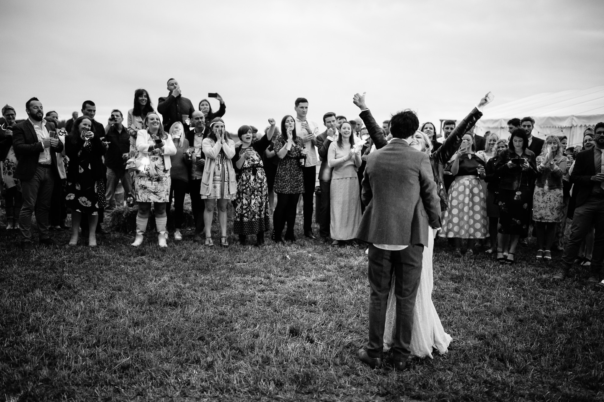 first dance at outdoor festival wedding in Kent
