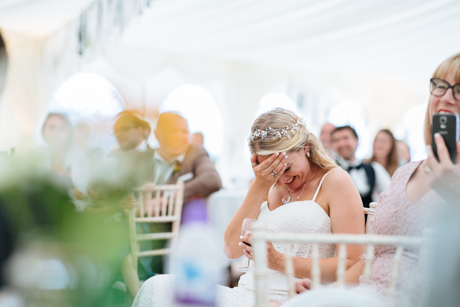 bride embarrassed by speech