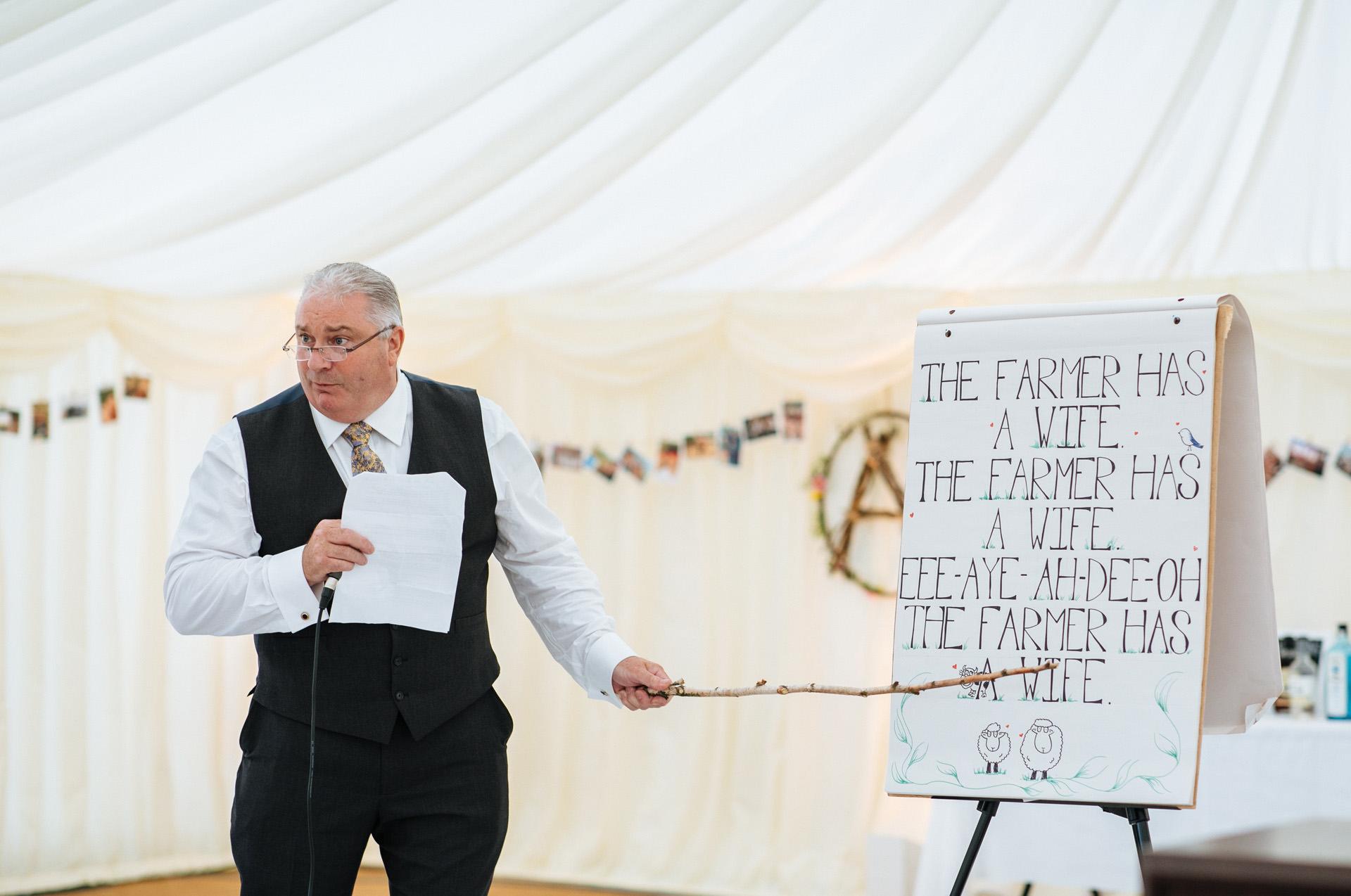 brides dad speech in wedding marquee