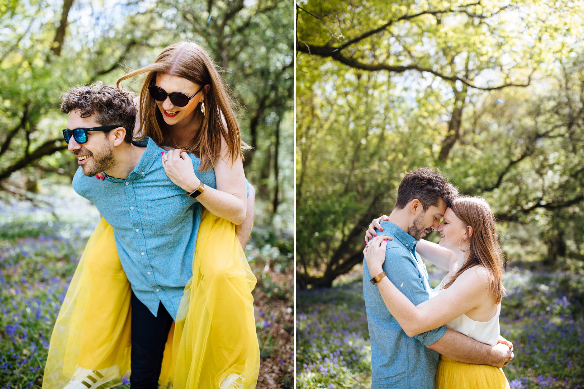 engagement shoot in Kent in bluebell wood