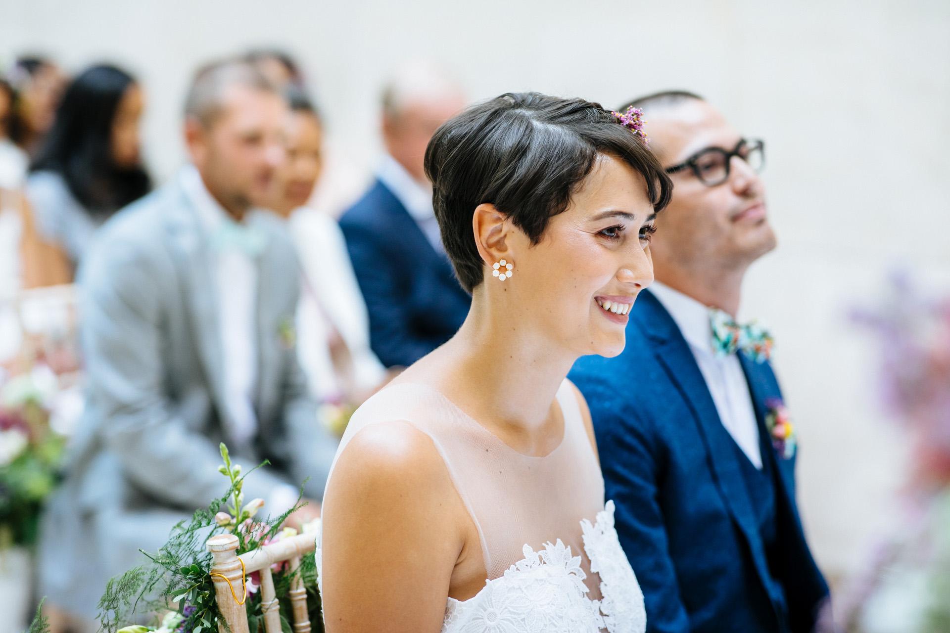 Hammersmith town hall wedding bride smiling
