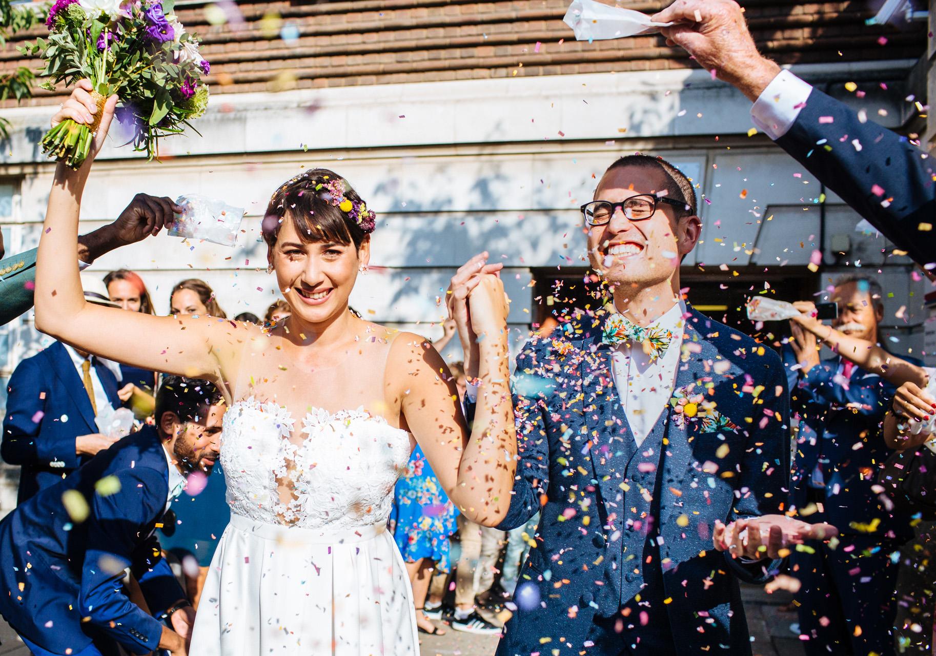 Hammersmith town hall wedding confetti
