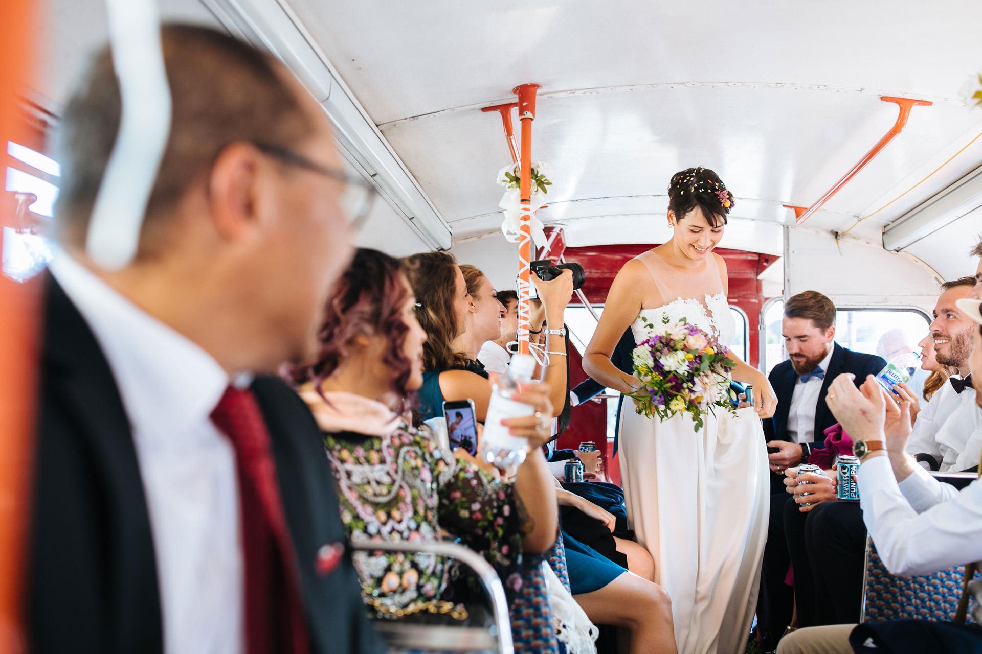 bride on London routemaster