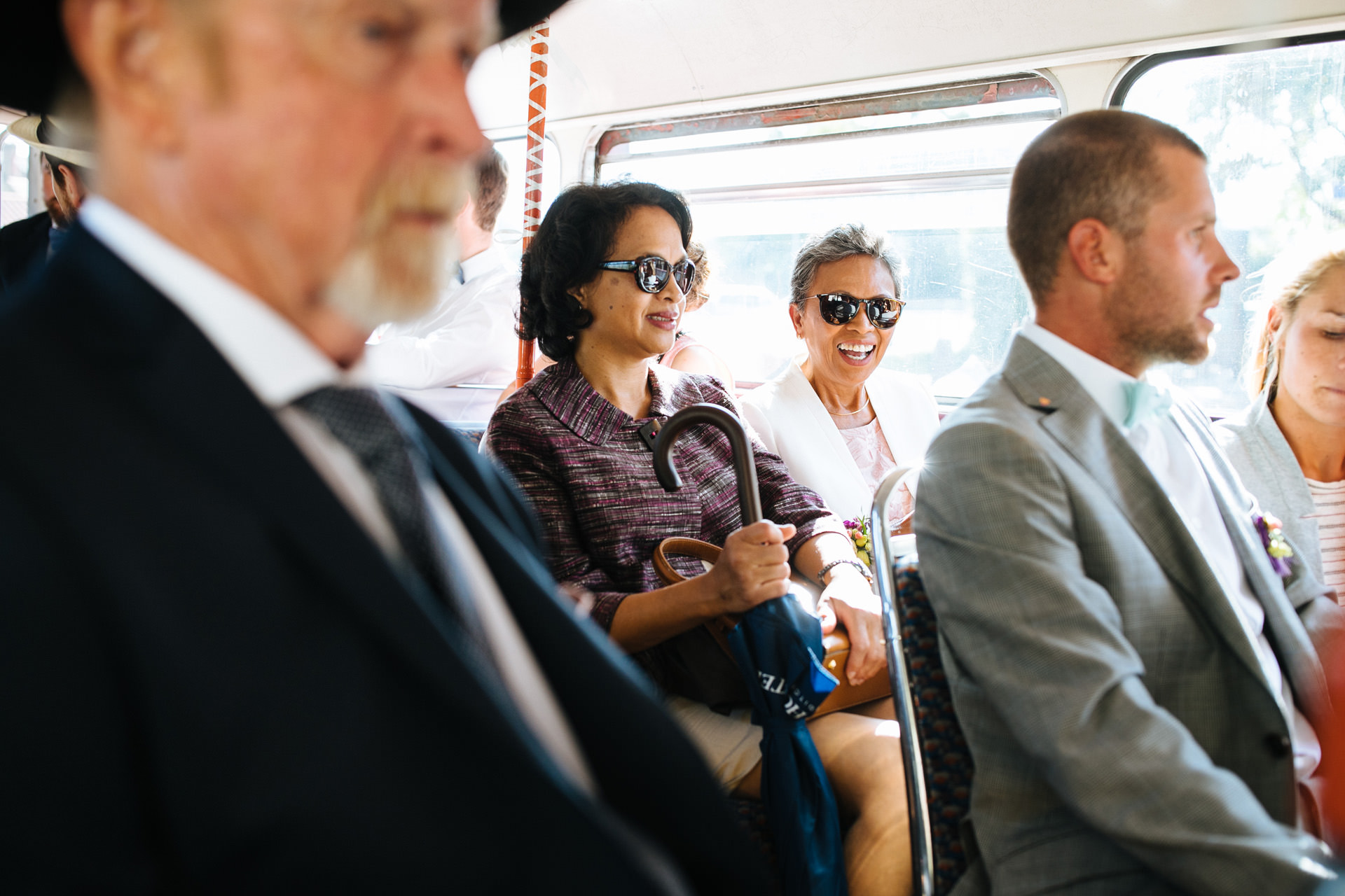 brides mum and friend on routemaster bus