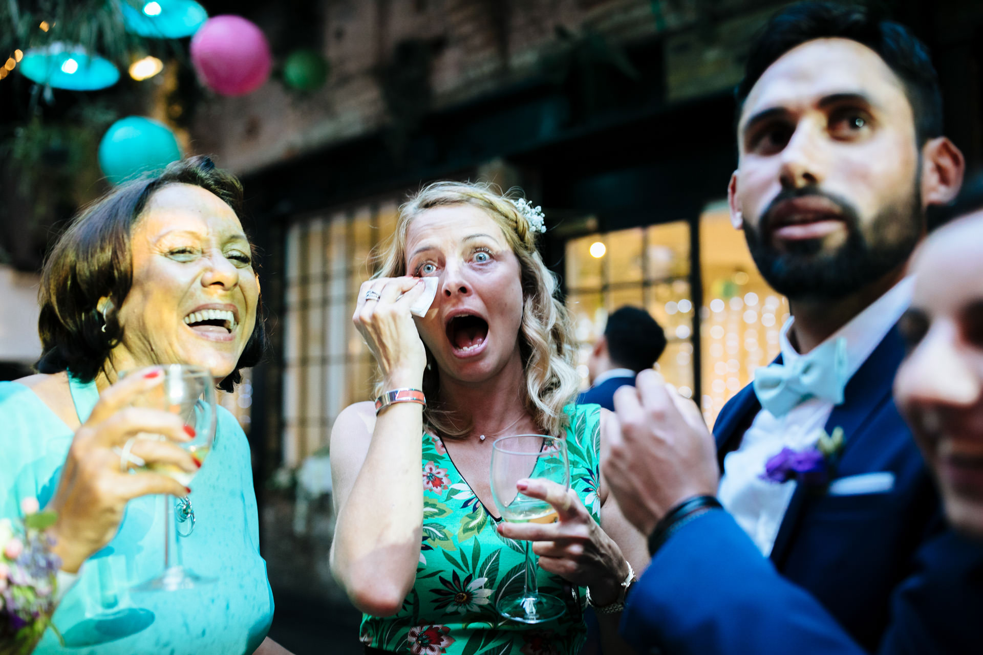 guest crying at London wedding