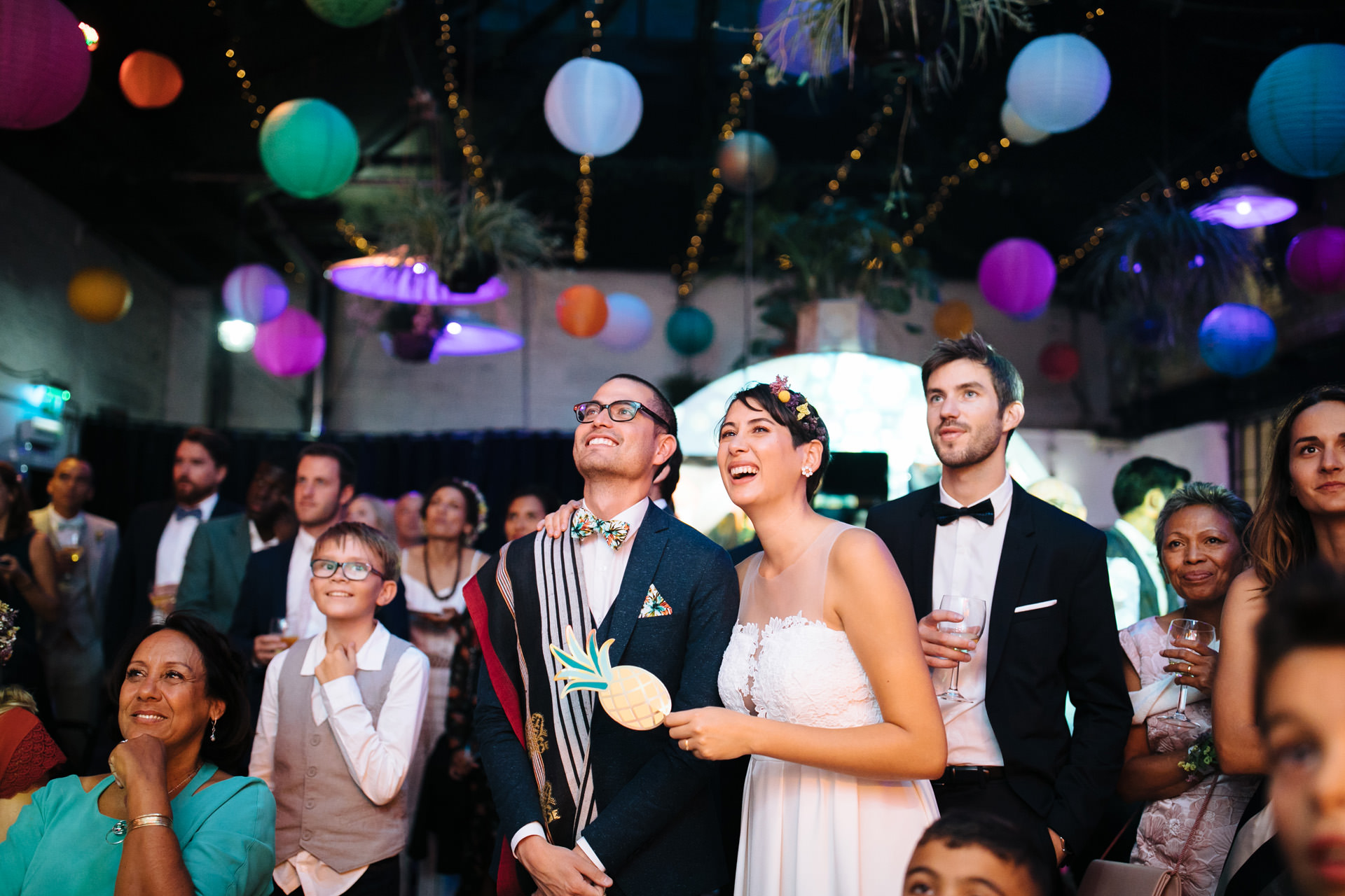 bride and groom reacting to speeches at islington metal works wedding