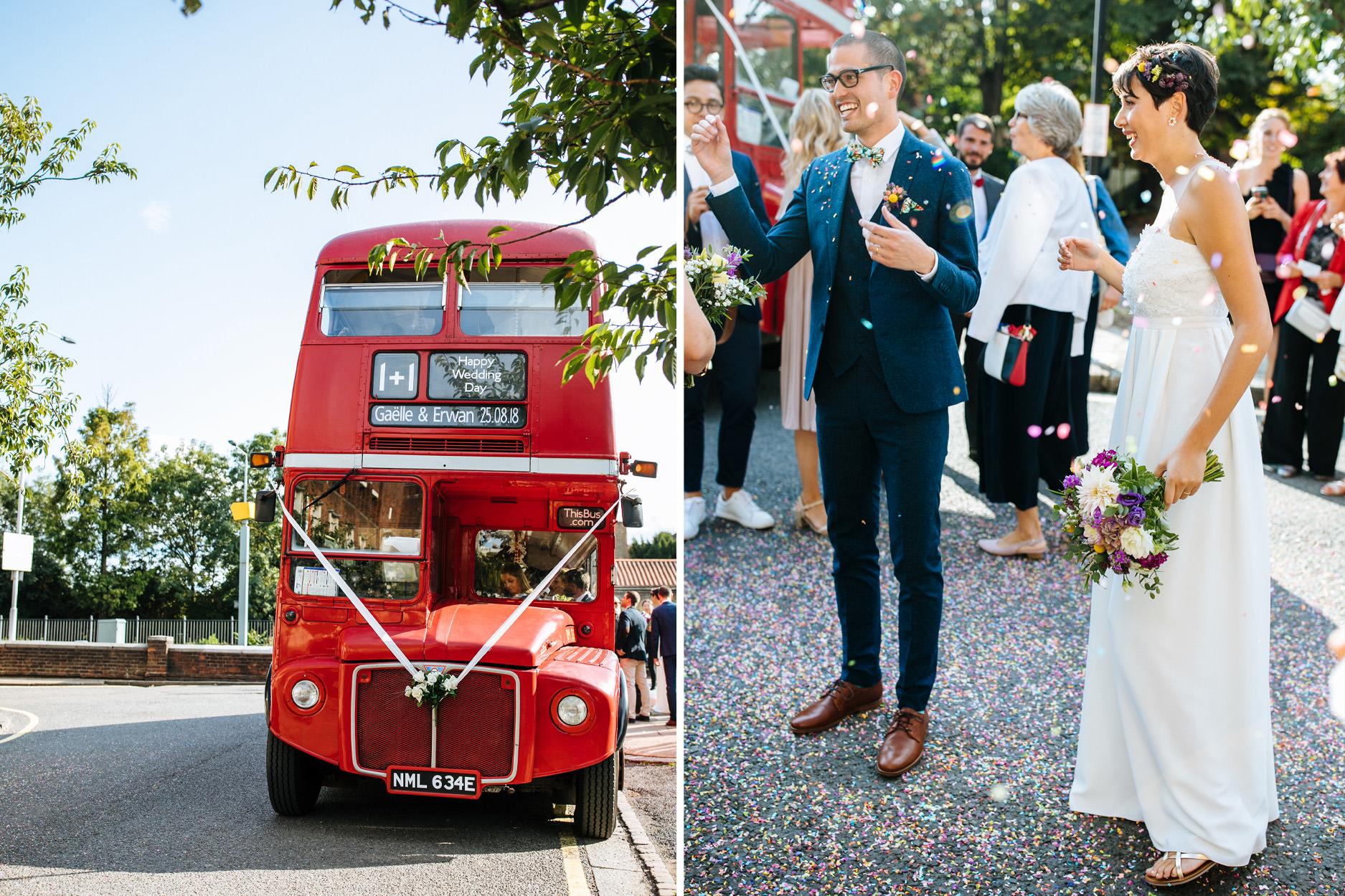 London routemaster at Hammersmith town hall wedding