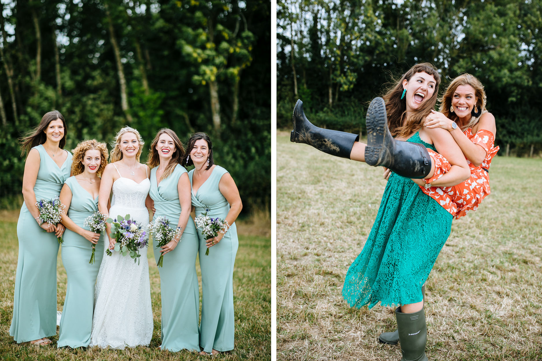bride and bridesmaids in mint green dresses at festival wedding in Kent