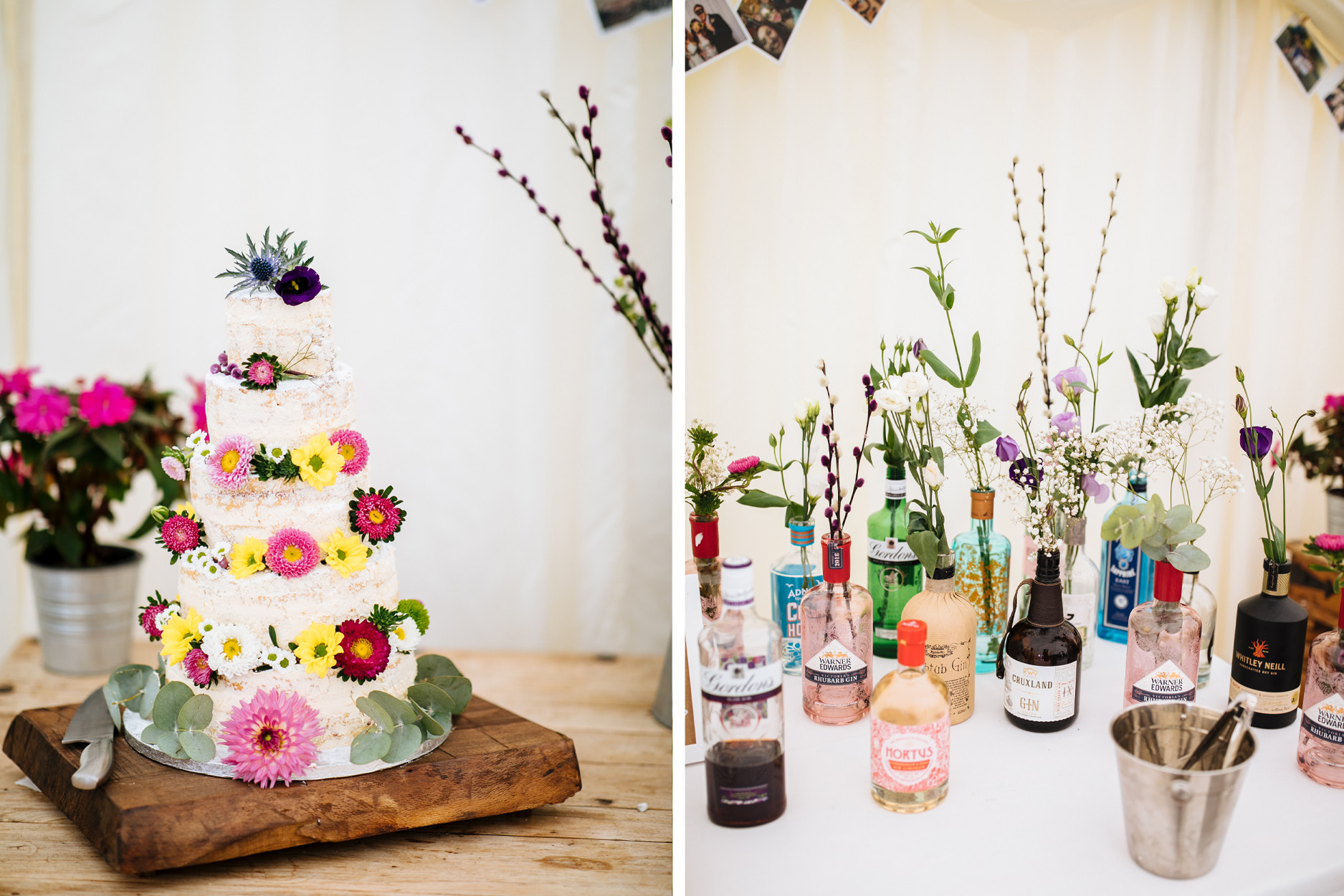 wedding decor white cake with bright flowers and assorted gin bottles