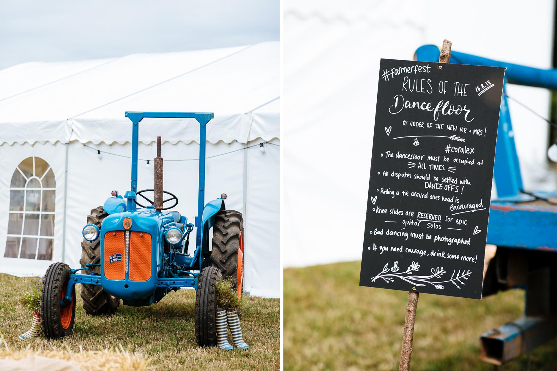 wedding decor tractor and dancefloor chalkboard sign