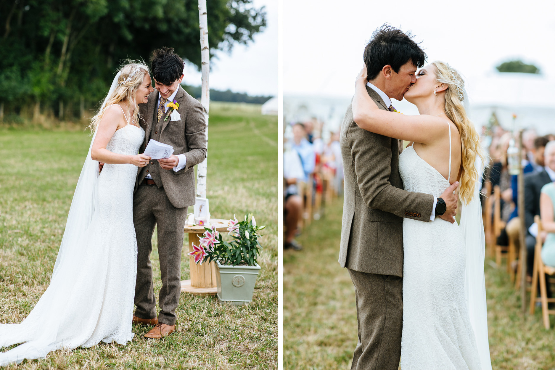 bride and groom humanist ceremony in Kent
