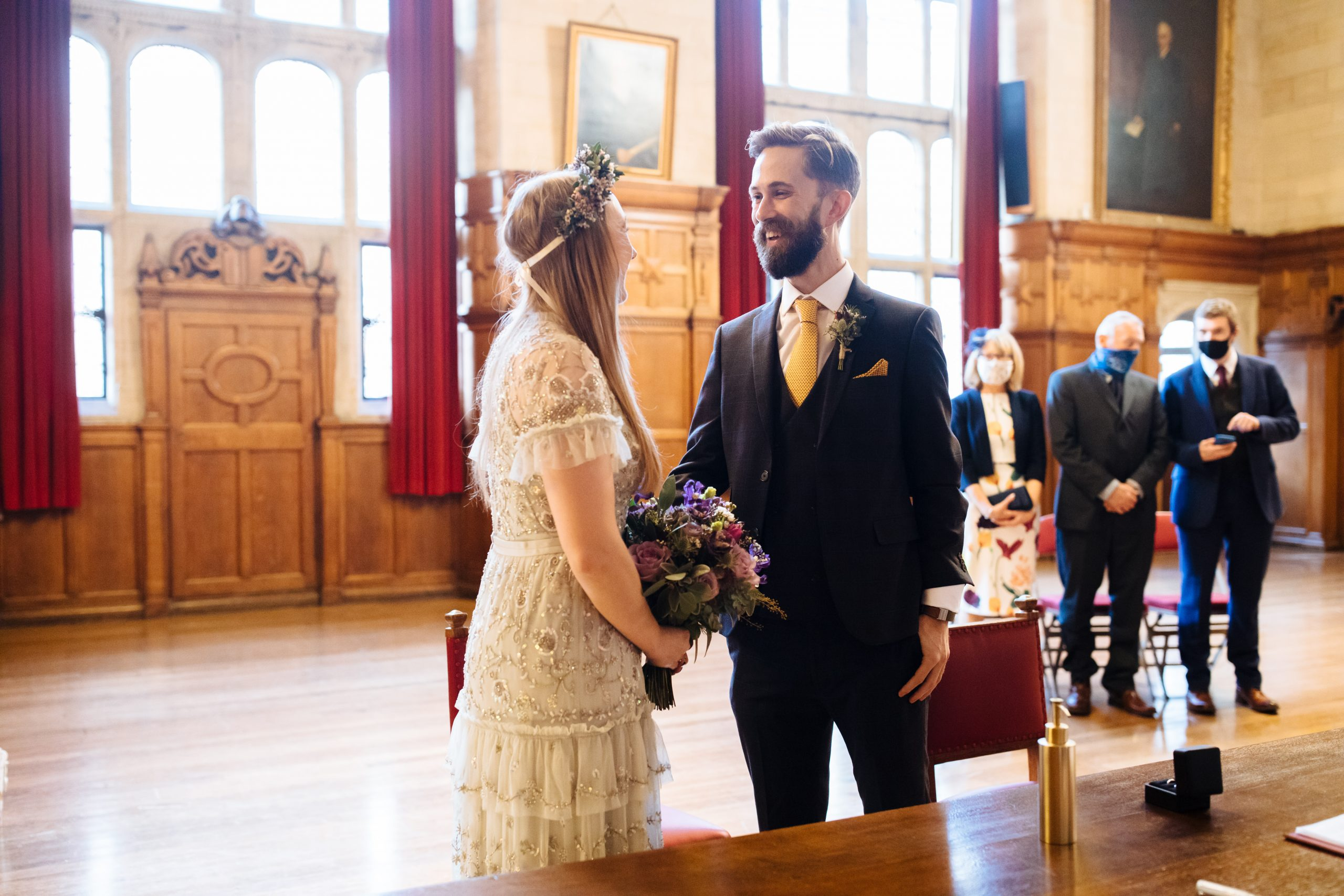 groom seeing bride for the first time at Oxford town hall wedding ceremony