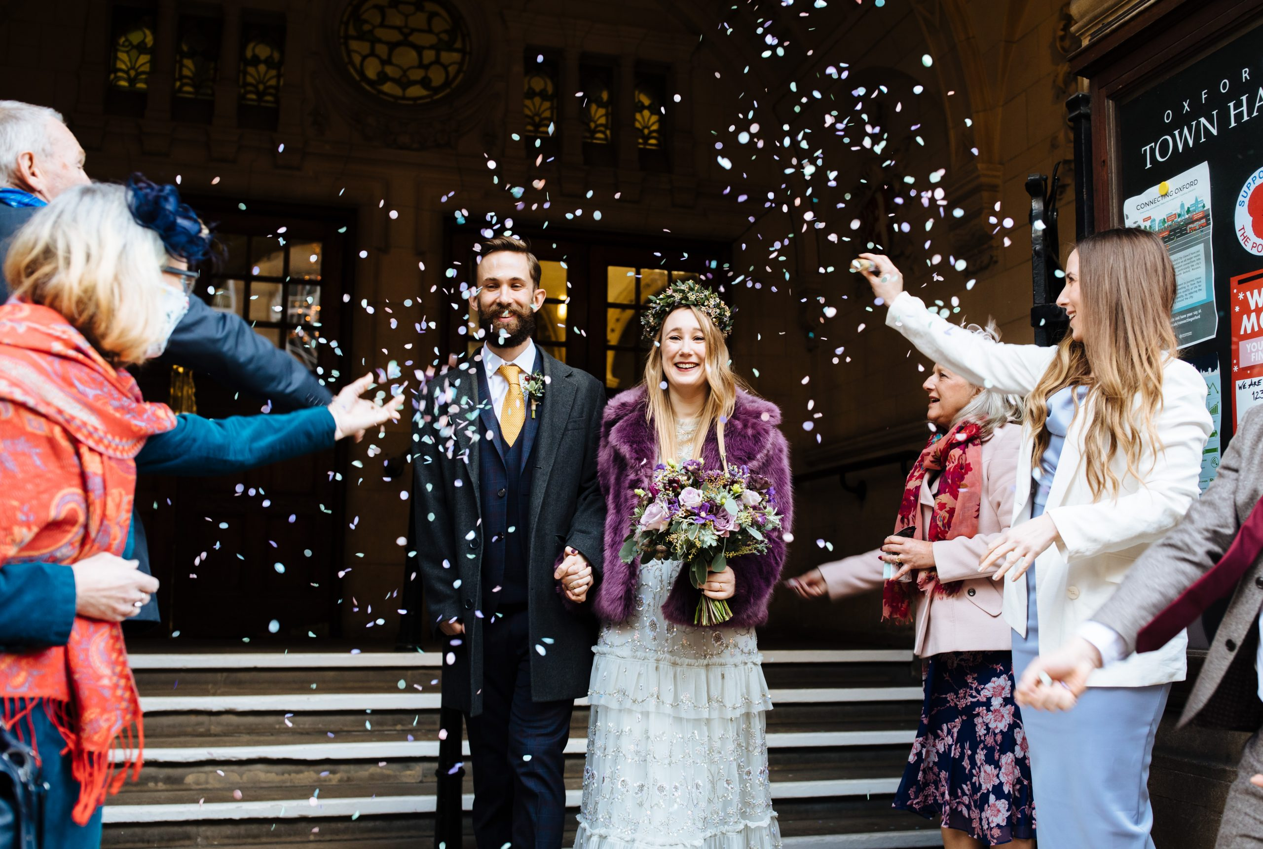 bride and groom confetti at Oxford town hall wedding