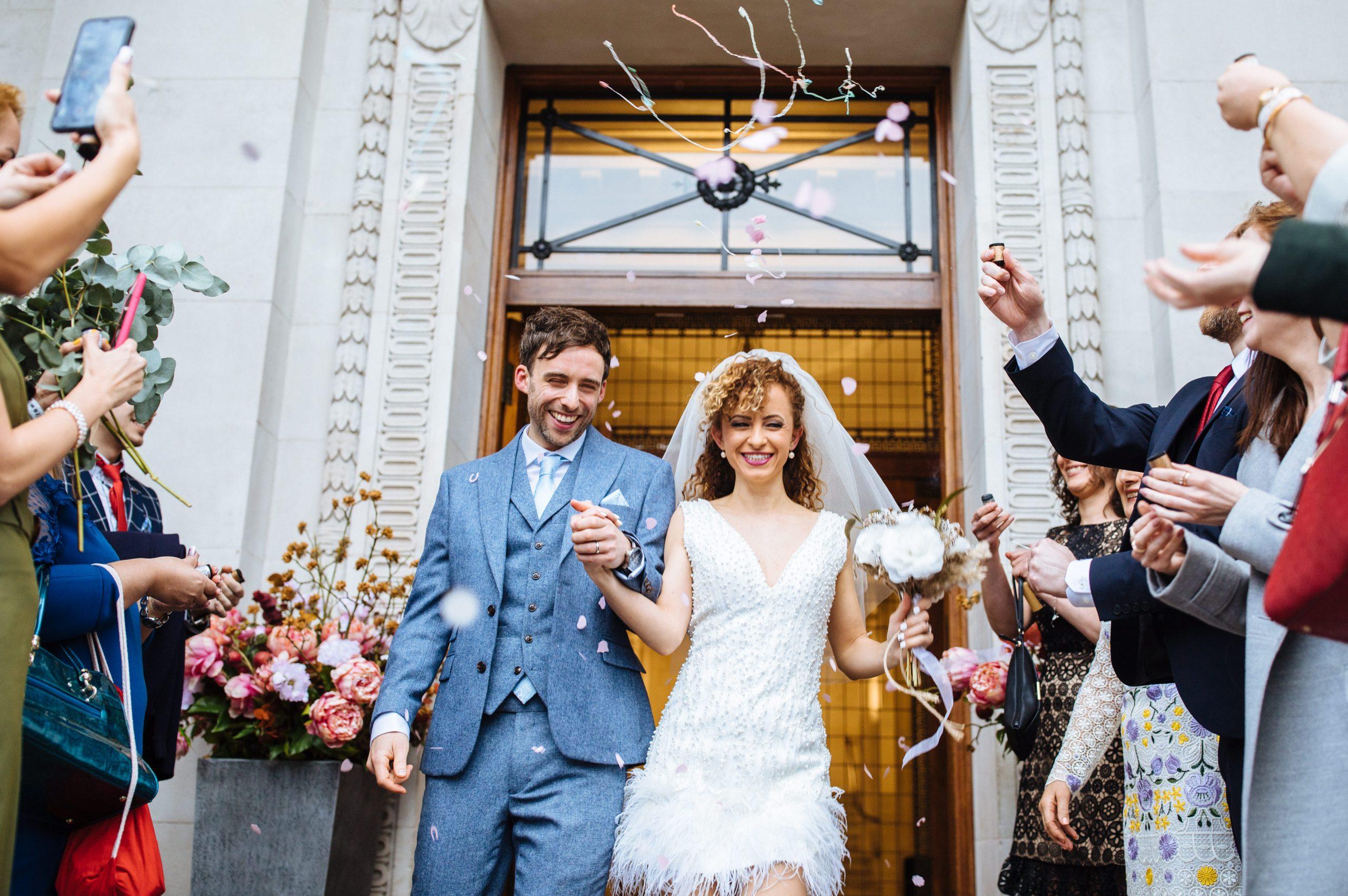 wedding confetti at Marylebone town hall London