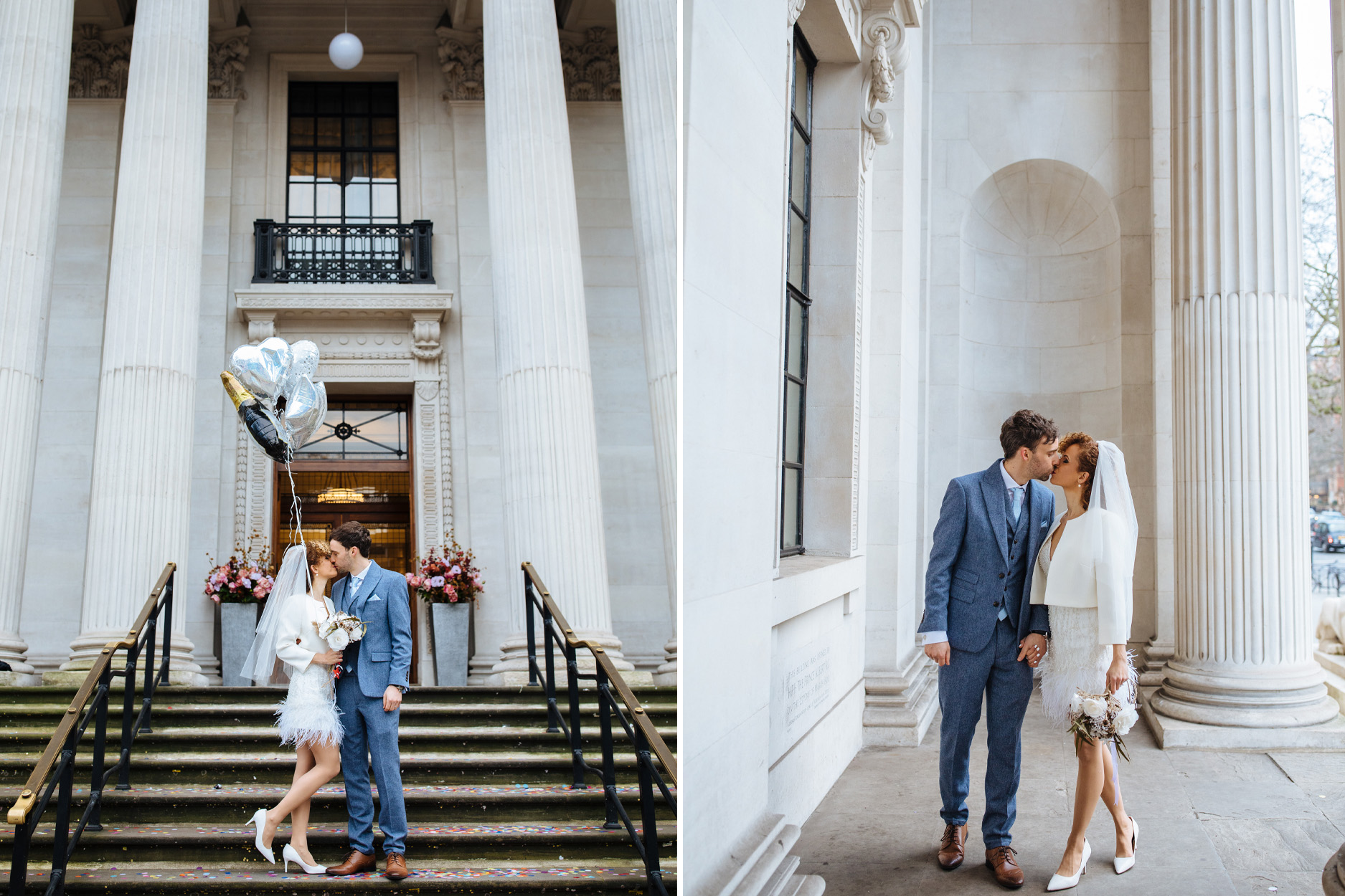 bride and groom outside Marylebone town hall wedding