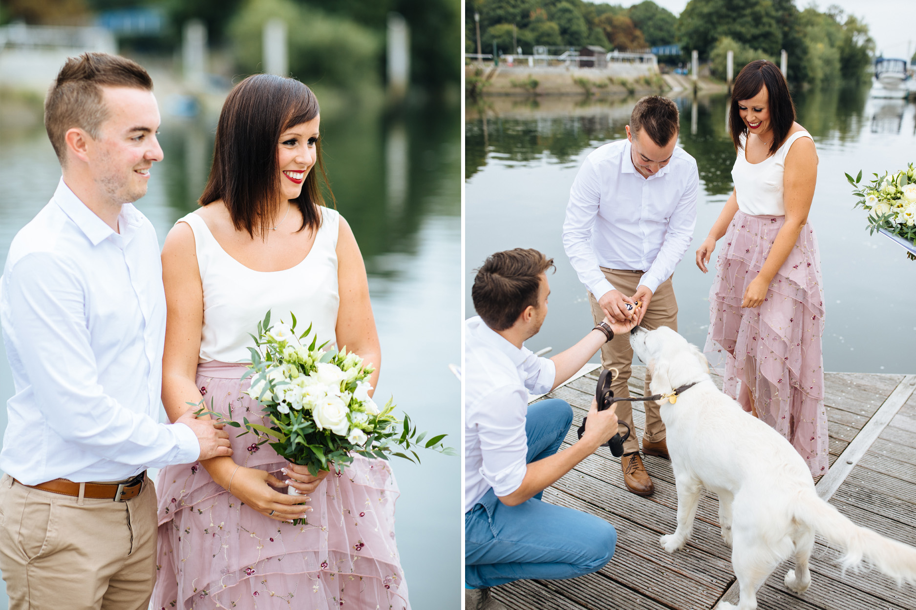 bride and groom at wedding ceremony on river with golden retriever as ring bearer