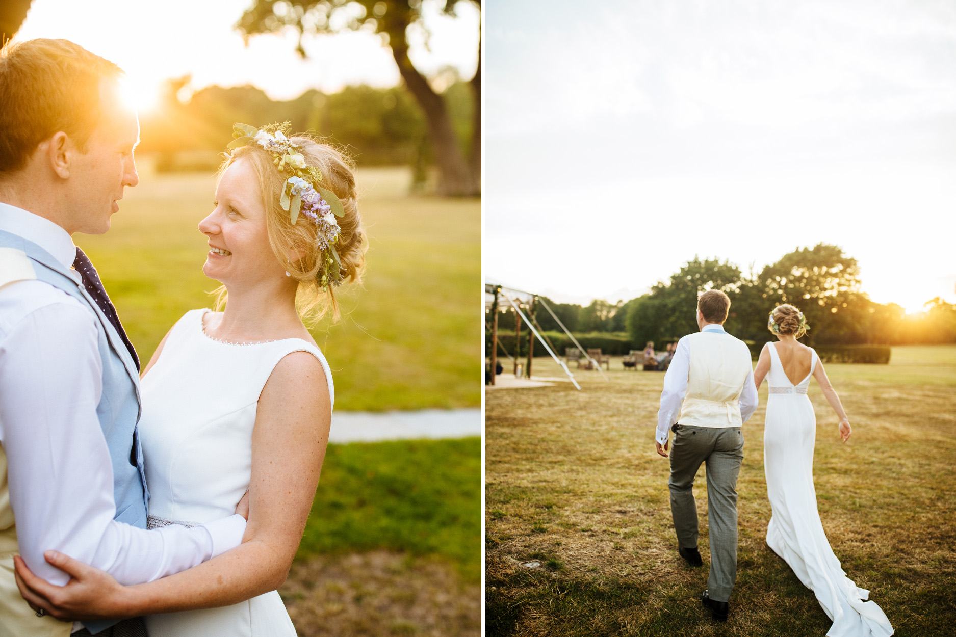 bride in flower crown at sunset at Kent festival wedding