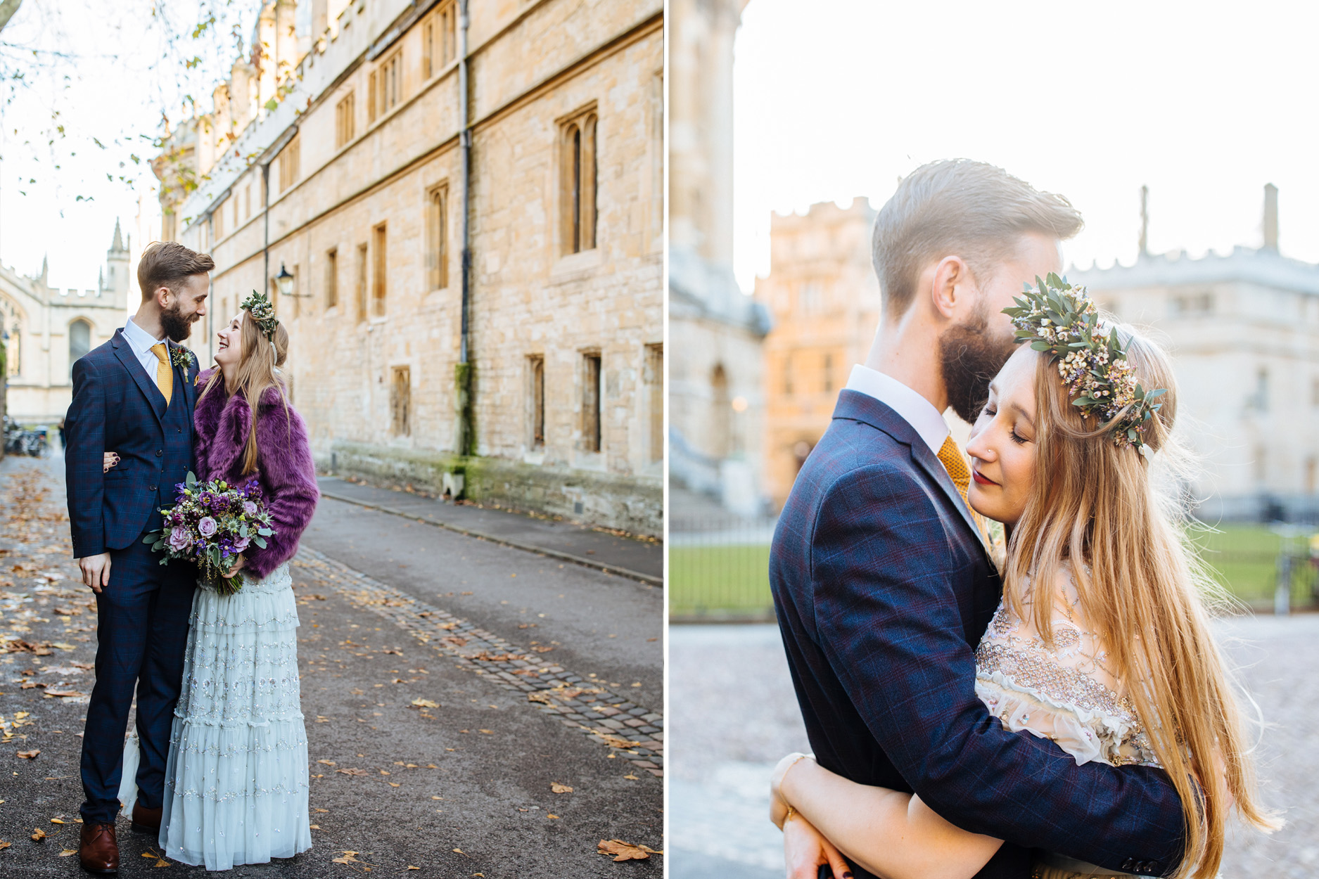 Oxford wedding bride in needle and thread dress